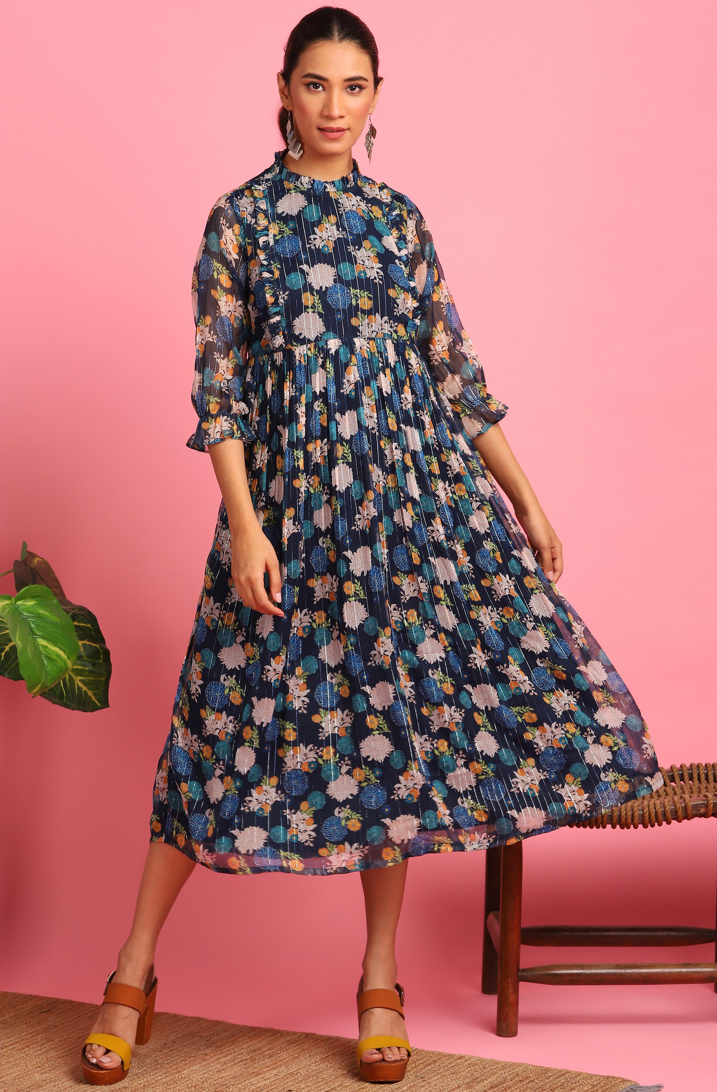 Janasya | Janasya Women's Navy Blue Poly Georgette Western Dress