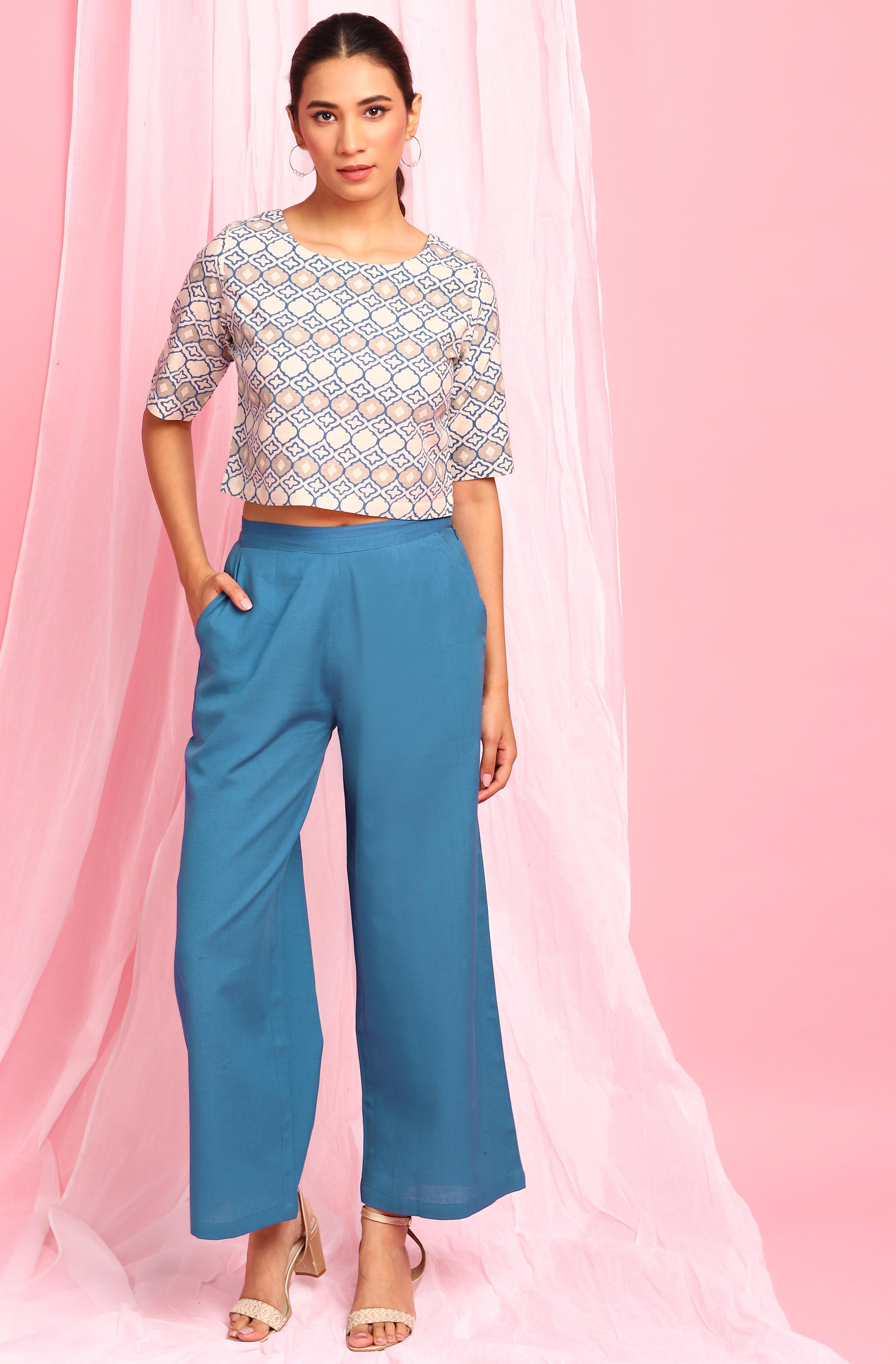 Janasya | Janasya Women's Cream Cotton Flex Top With Palazzo