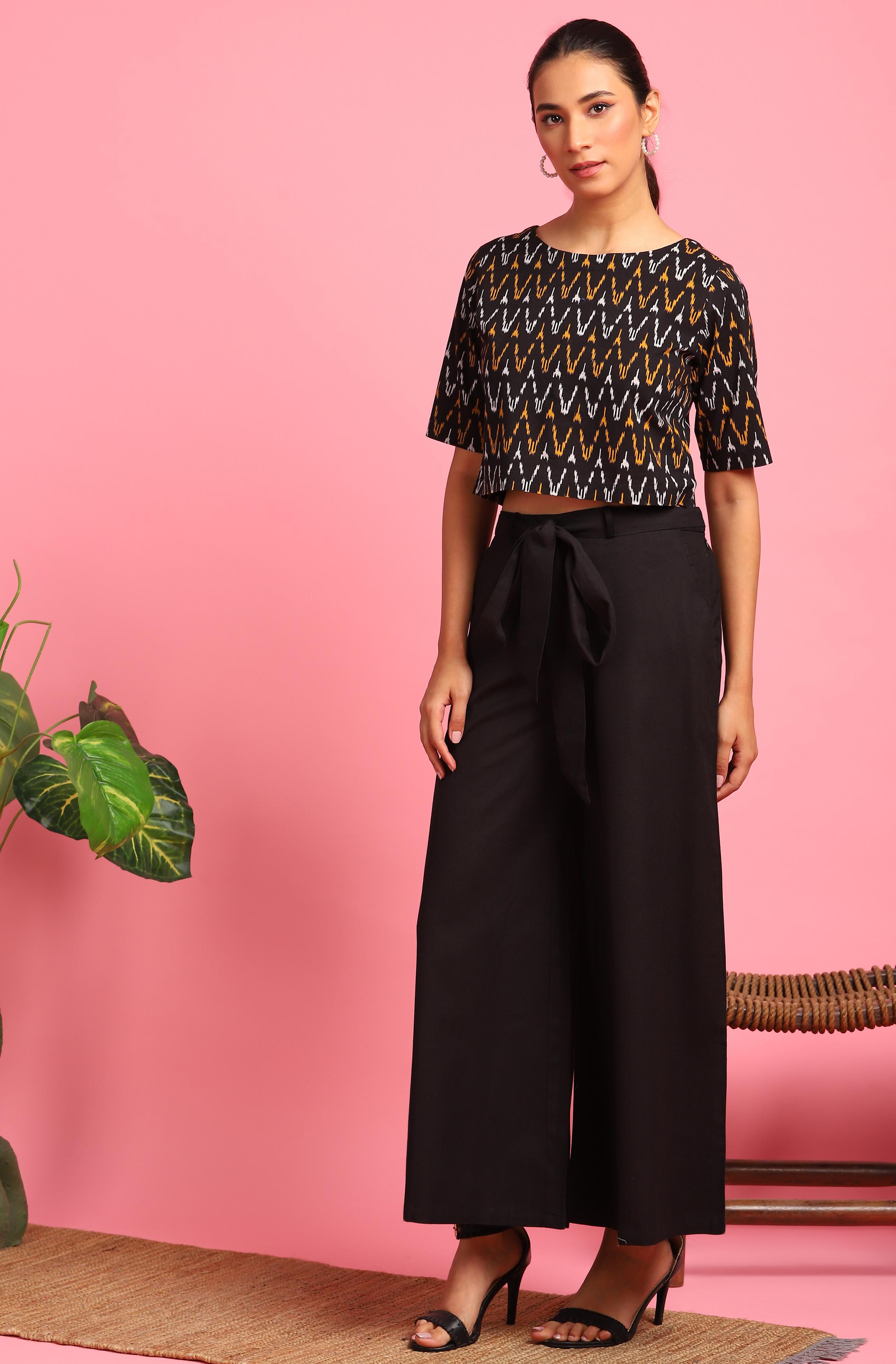 Janasya | Janasya Women's Black Cotton Flex Crop Top With Palazzo