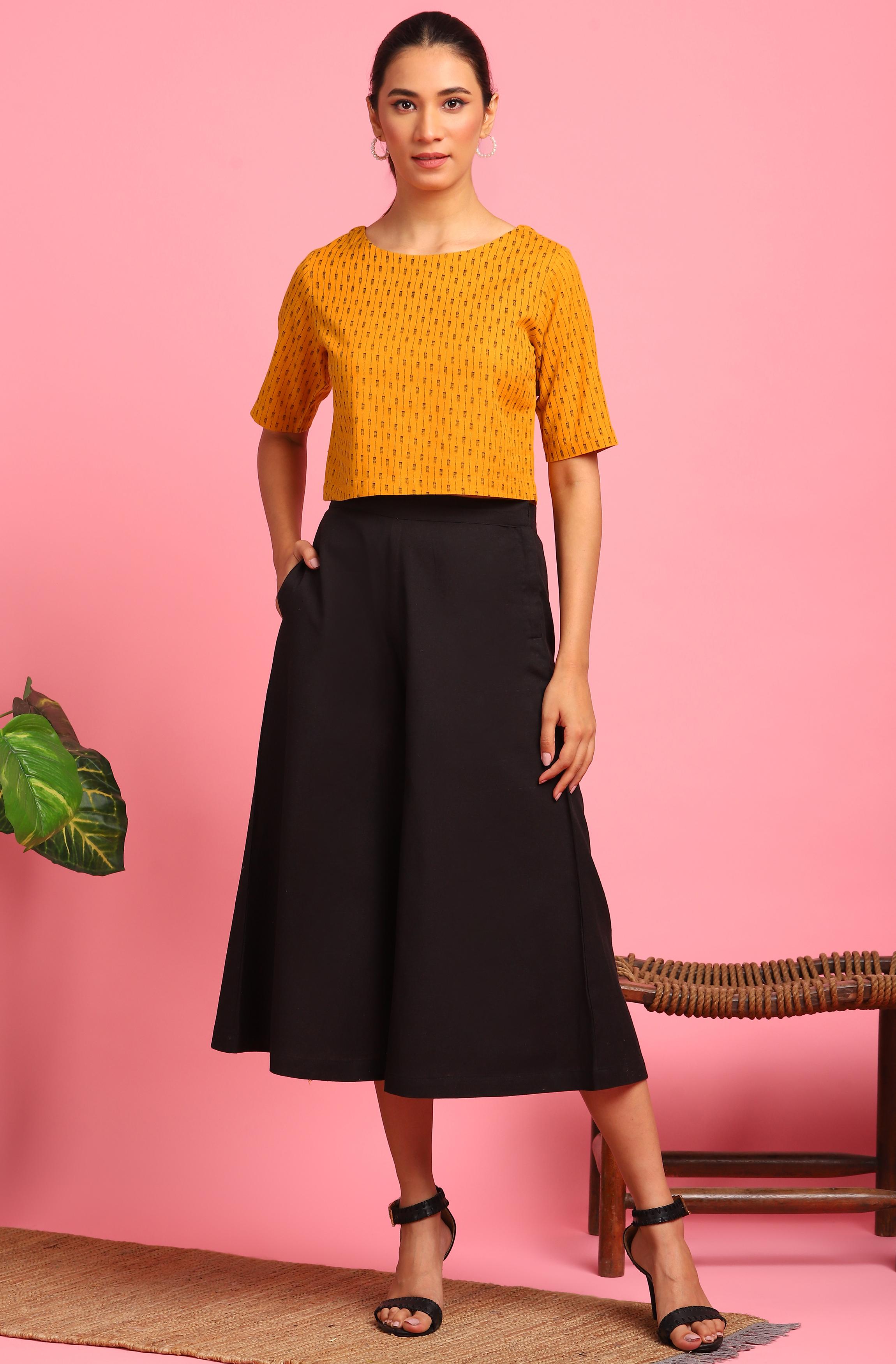 Janasya | Janasya Women's Mustard Cotton Flex Crop Top With Culottes