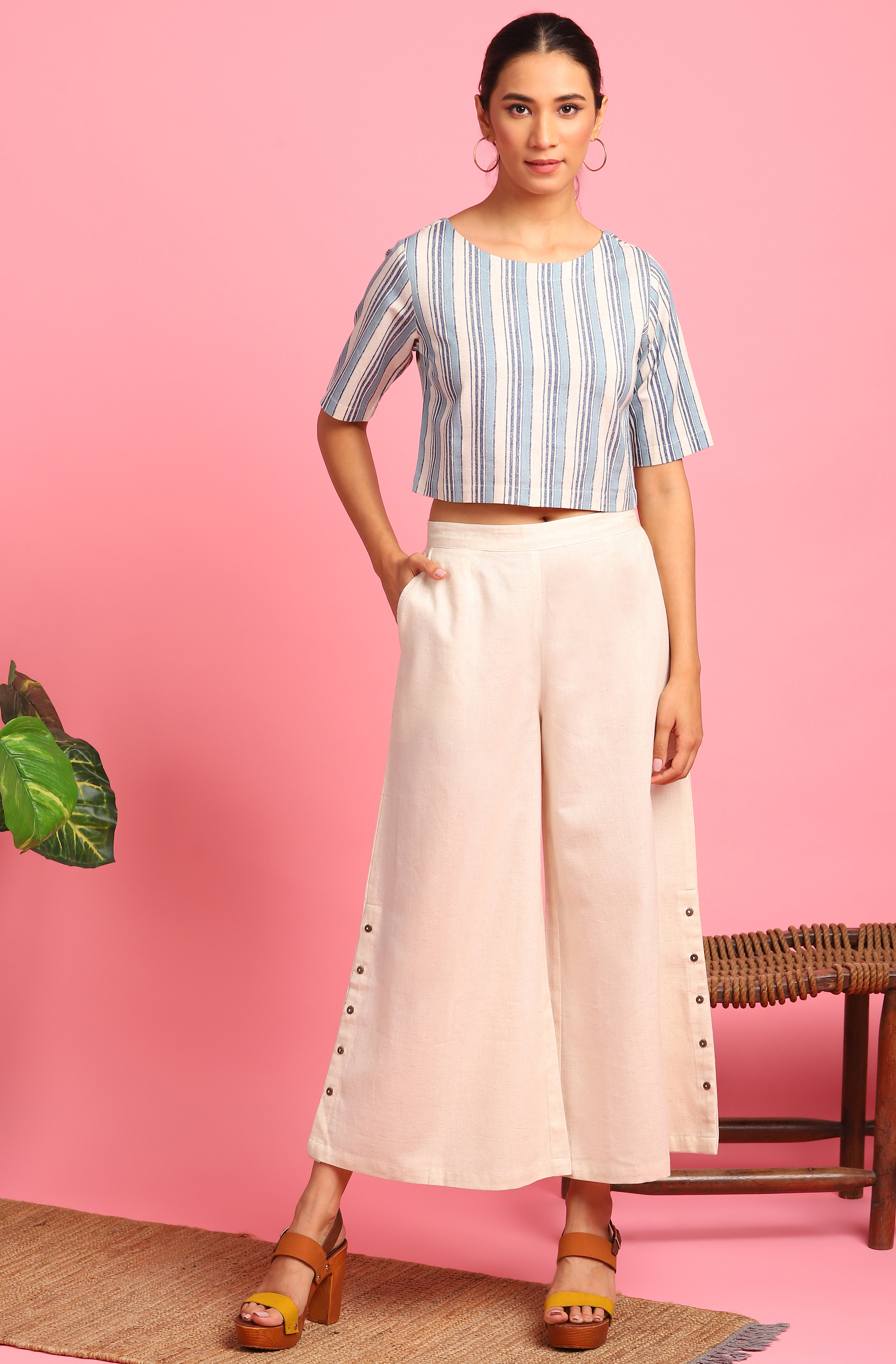 Janasya | Janasya Women's Cream Cotton Flex Crop Top With Palazzo