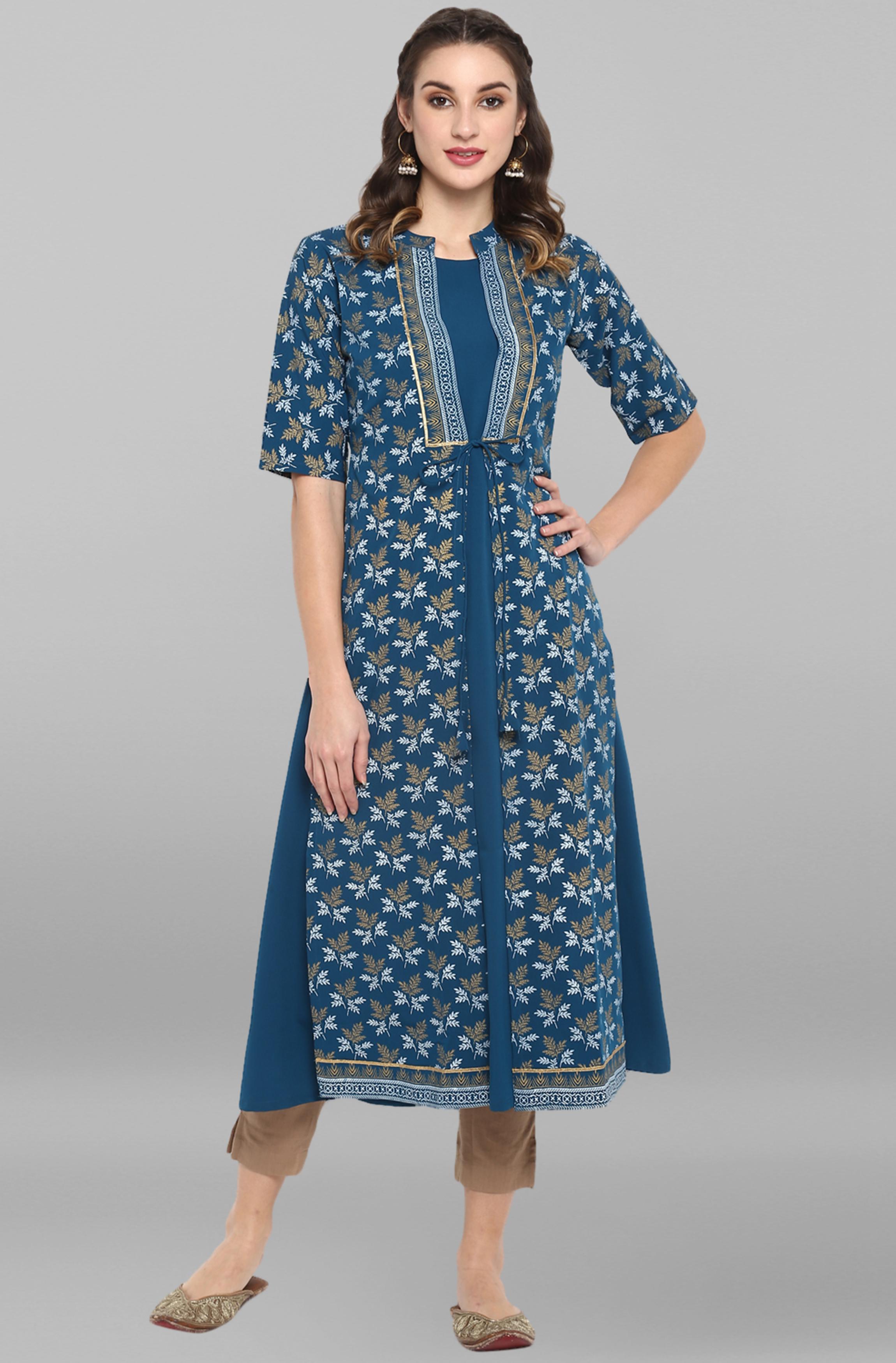 Janasya | Janasya Women's Turquoise Poly Crepe Kurta With Jacket
