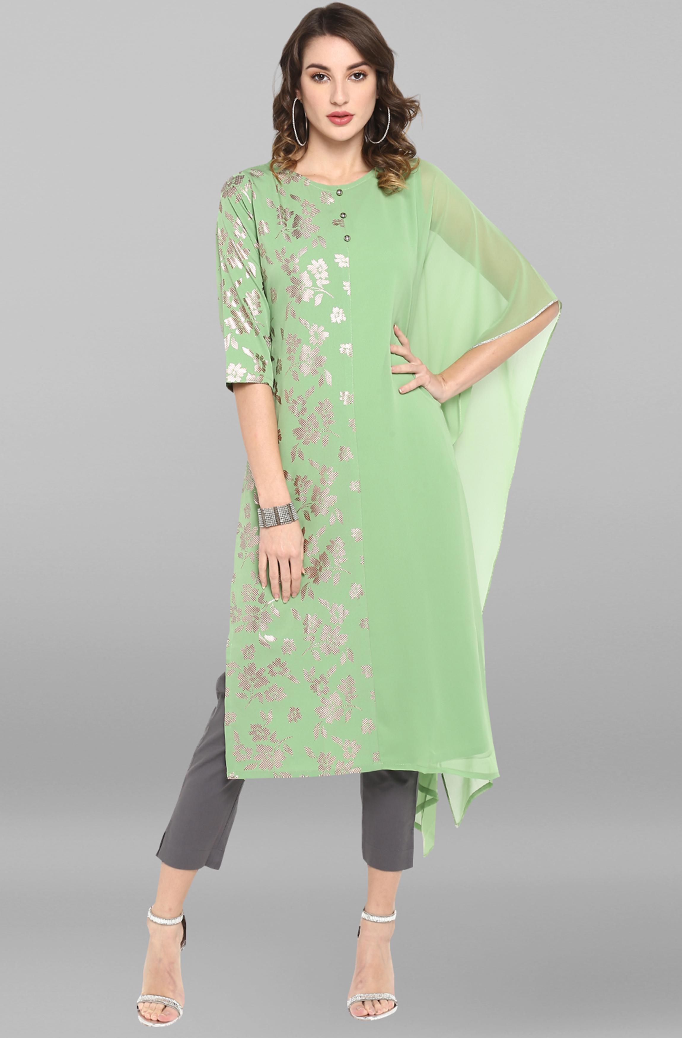 Janasya | Janasya Women's Light Green Poly Crepe Kurta