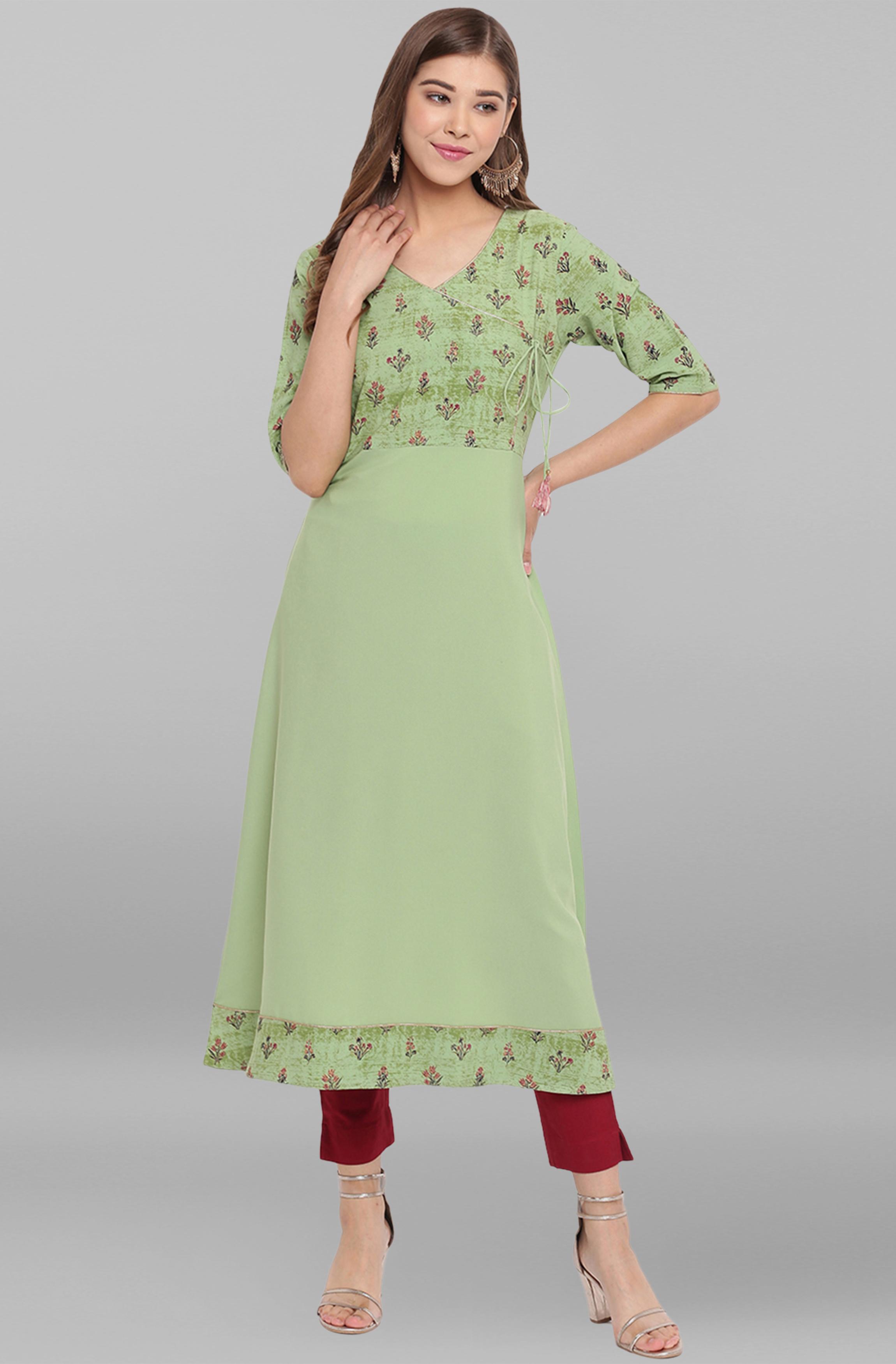 Janasya | Janasya Women's Green Poly Crepe Kurta