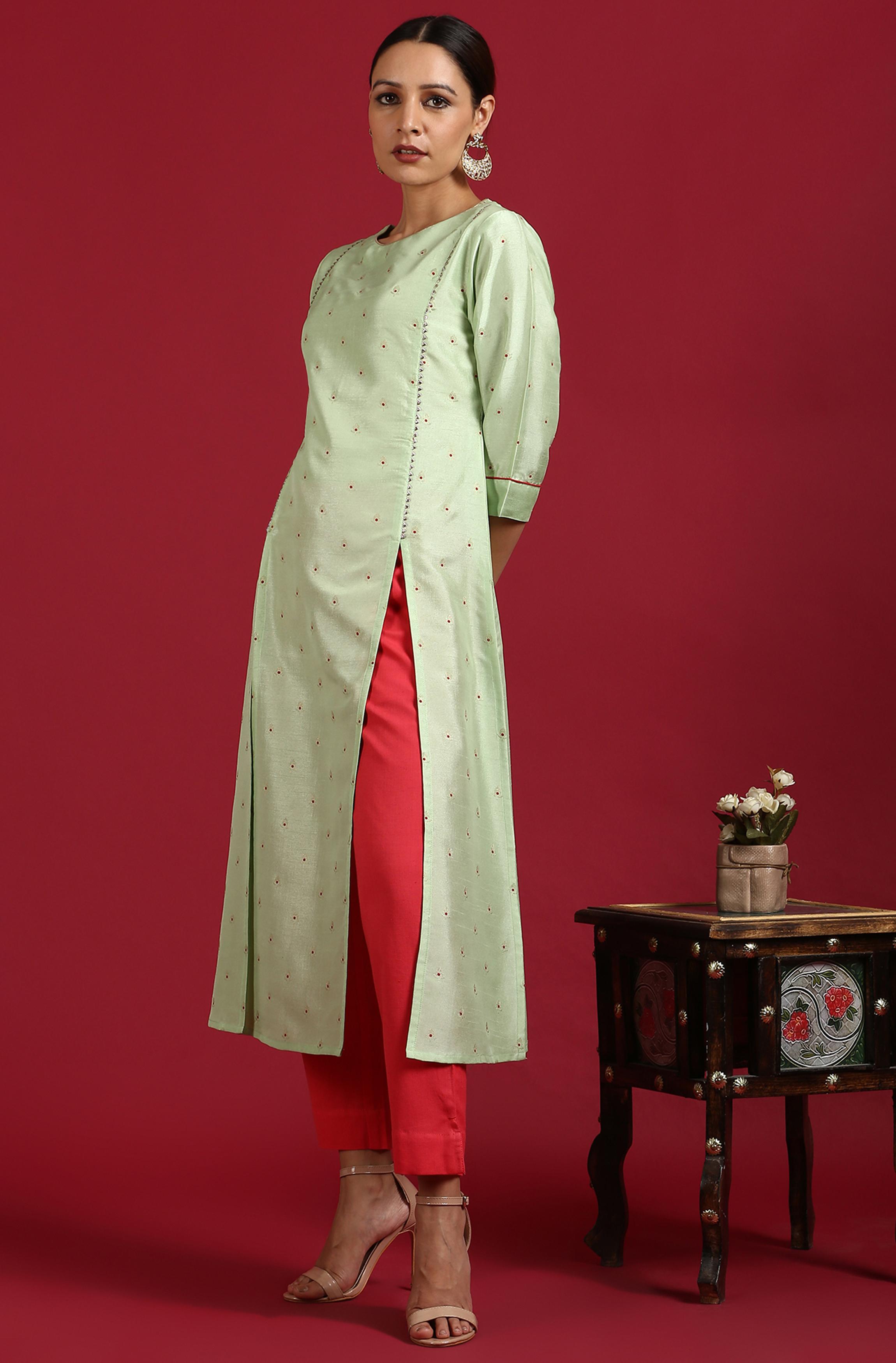 Janasya | Janasya Women's Light Green Poly Silk Kurta