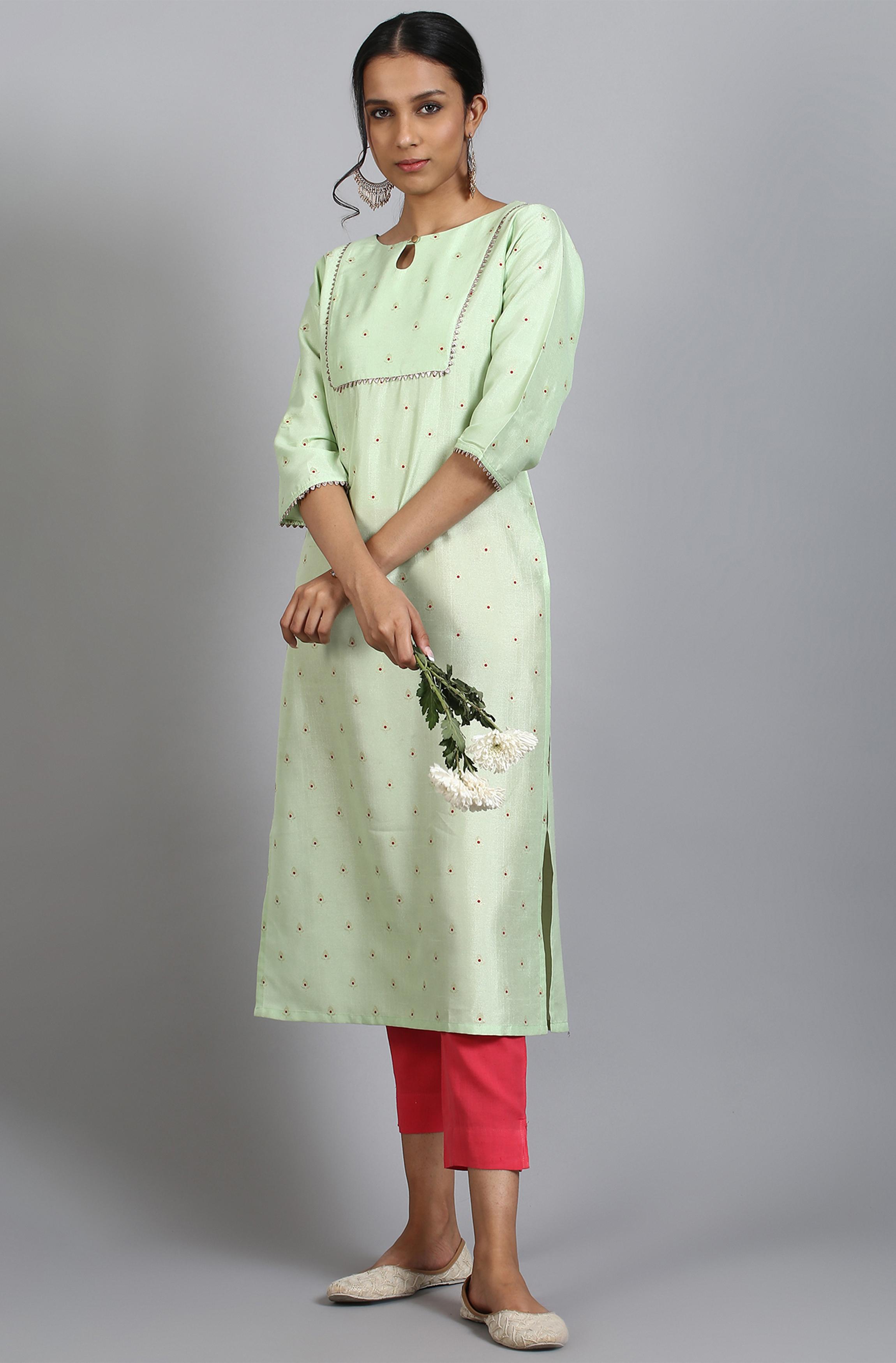 Janasya | Janasya Women's Green Poly Silk Kurta