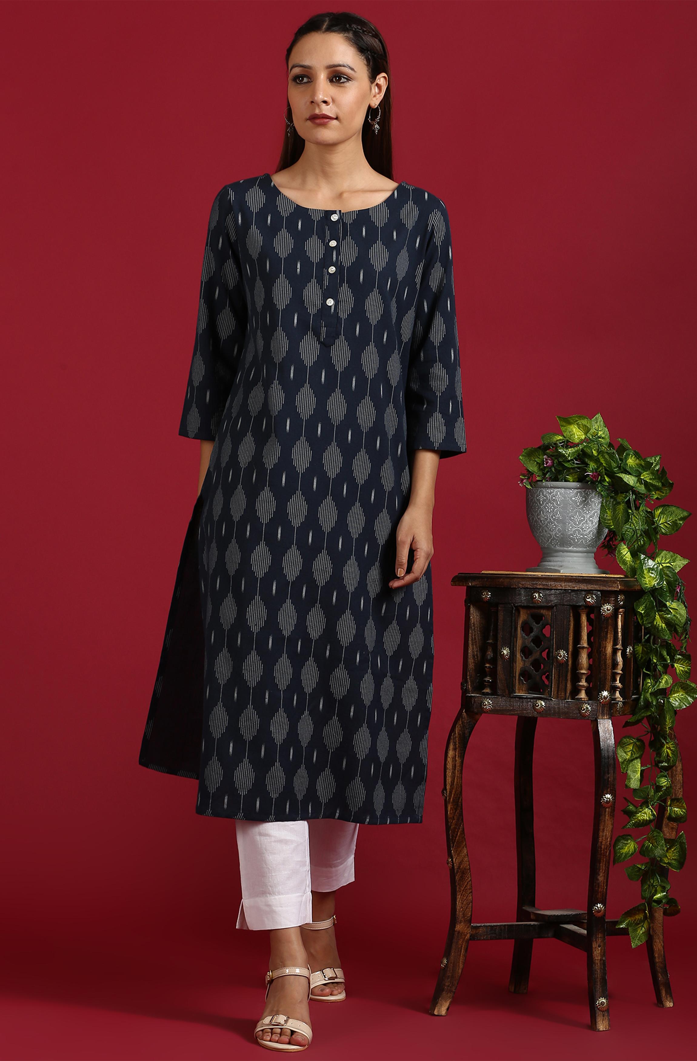 Janasya | Janasya Women's Navy Blue Cotton Flex Kurta