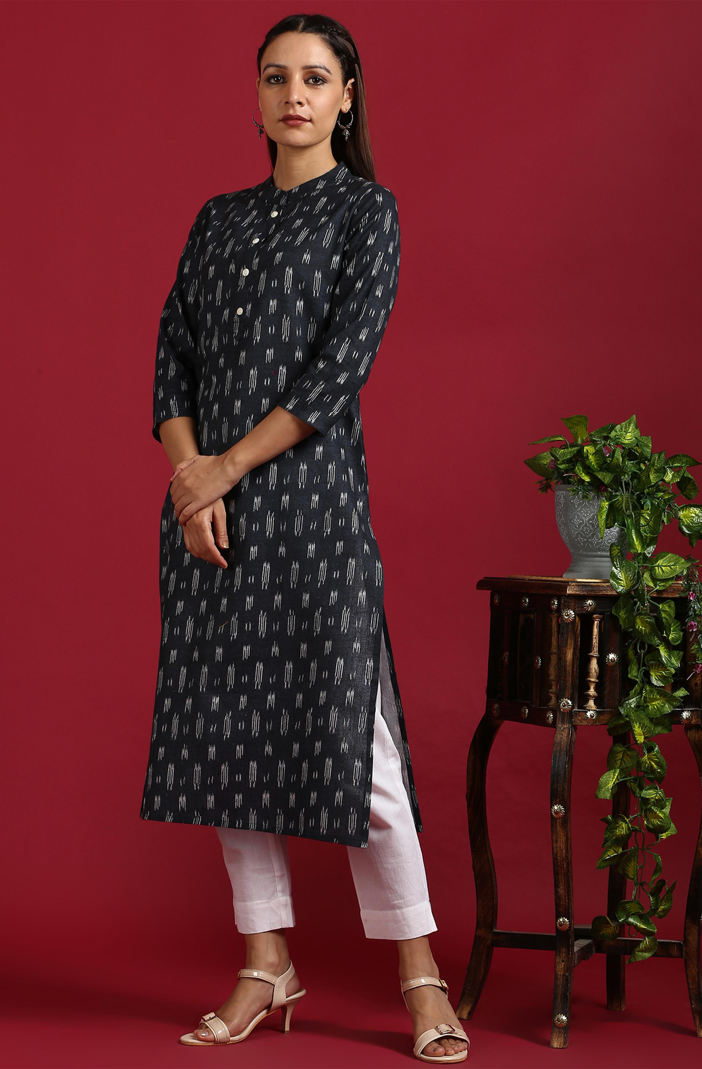 Janasya | Janasya Women's Grey Cotton Flex Kurta