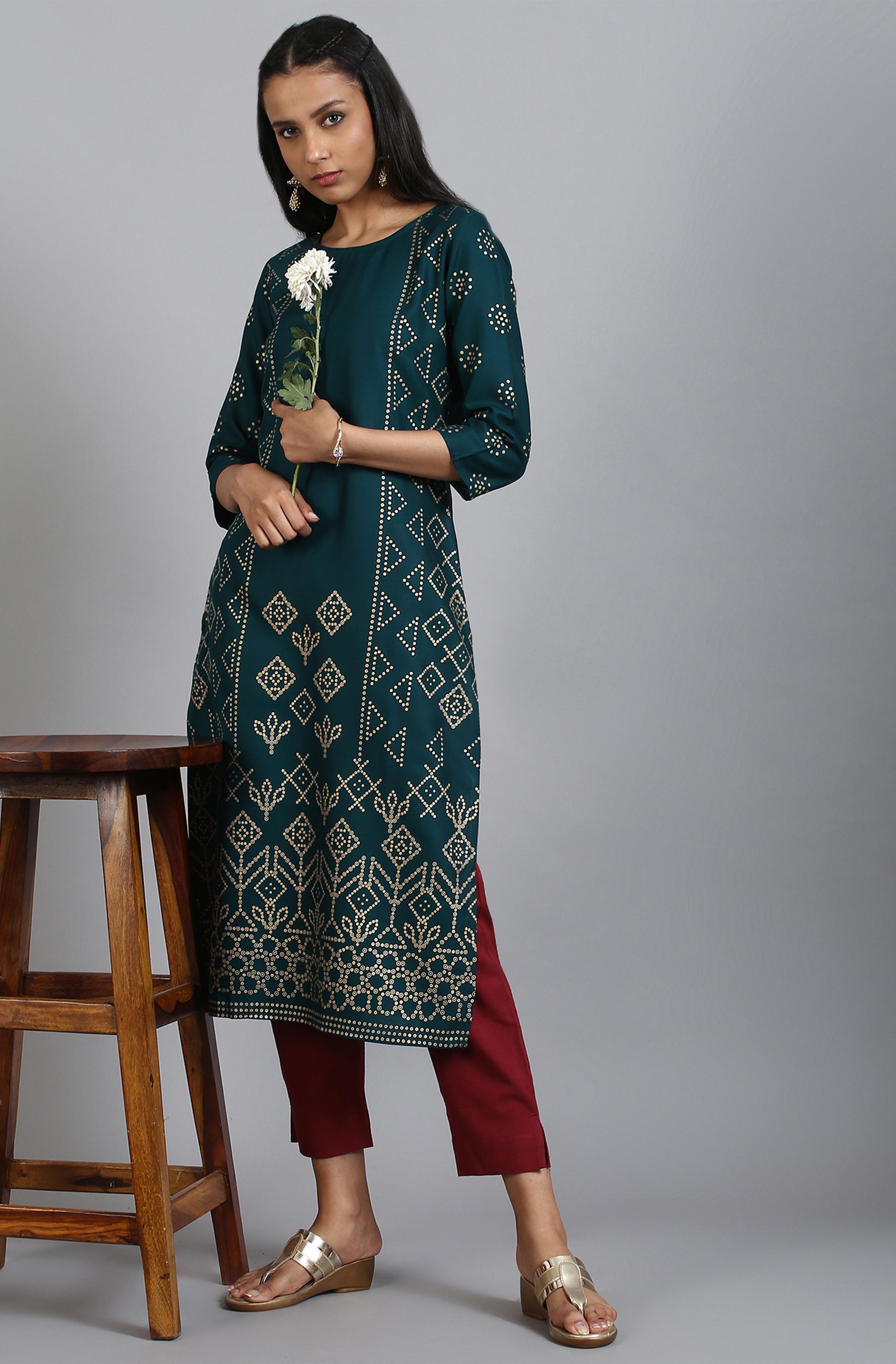 Janasya | Janasya Women's Dark Green Rayon Kurta