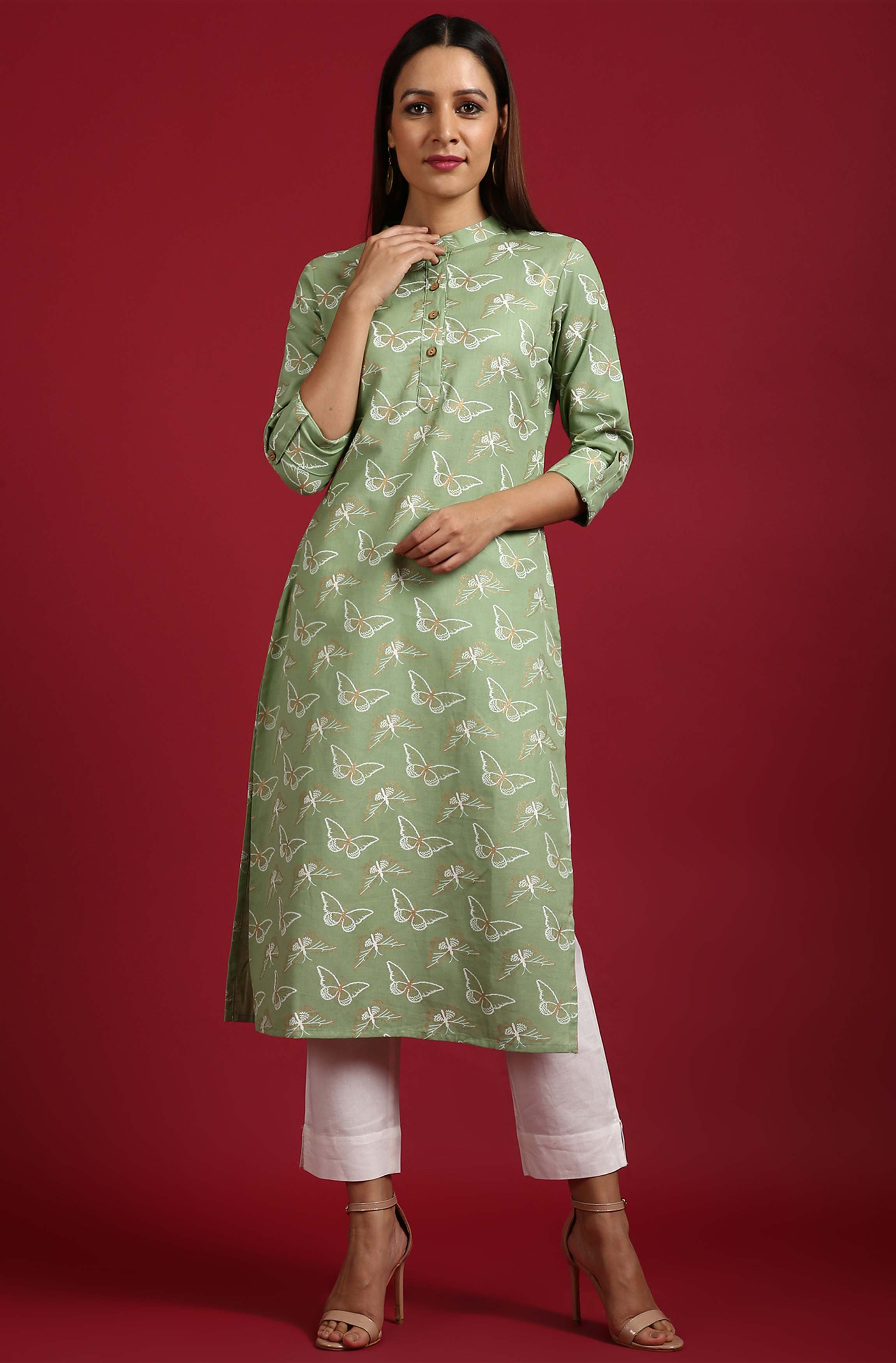 Janasya | Janasya Women's Light Green Cotton Flex Kurta