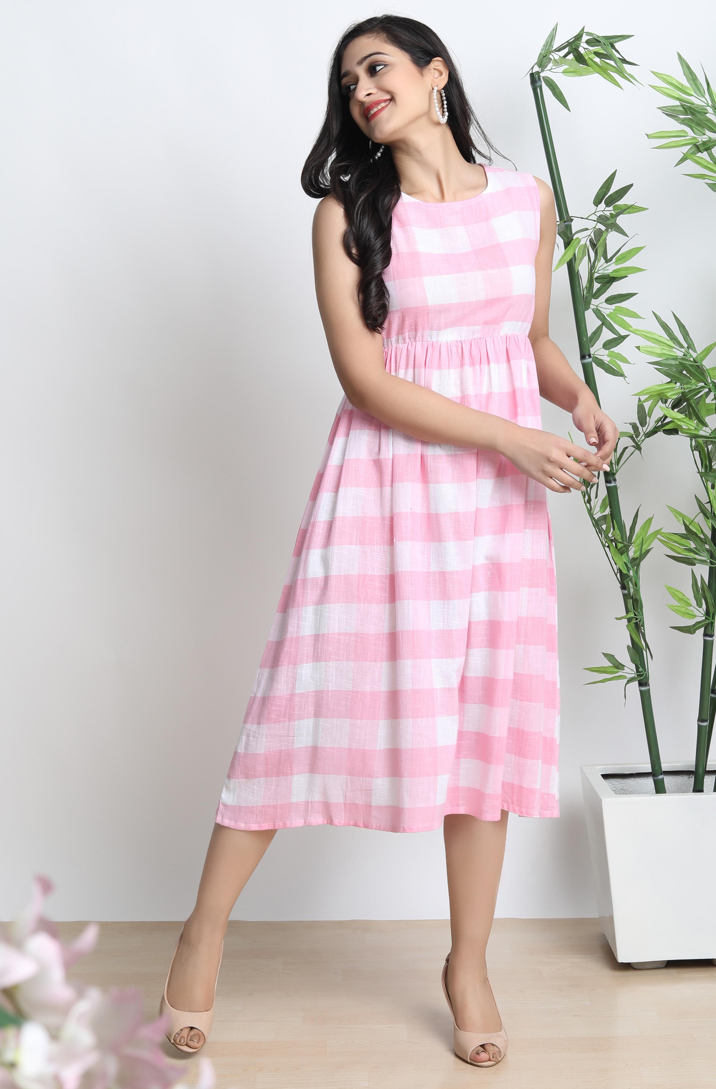 Janasya | Janasya Women's Pink Cotton Western Dress