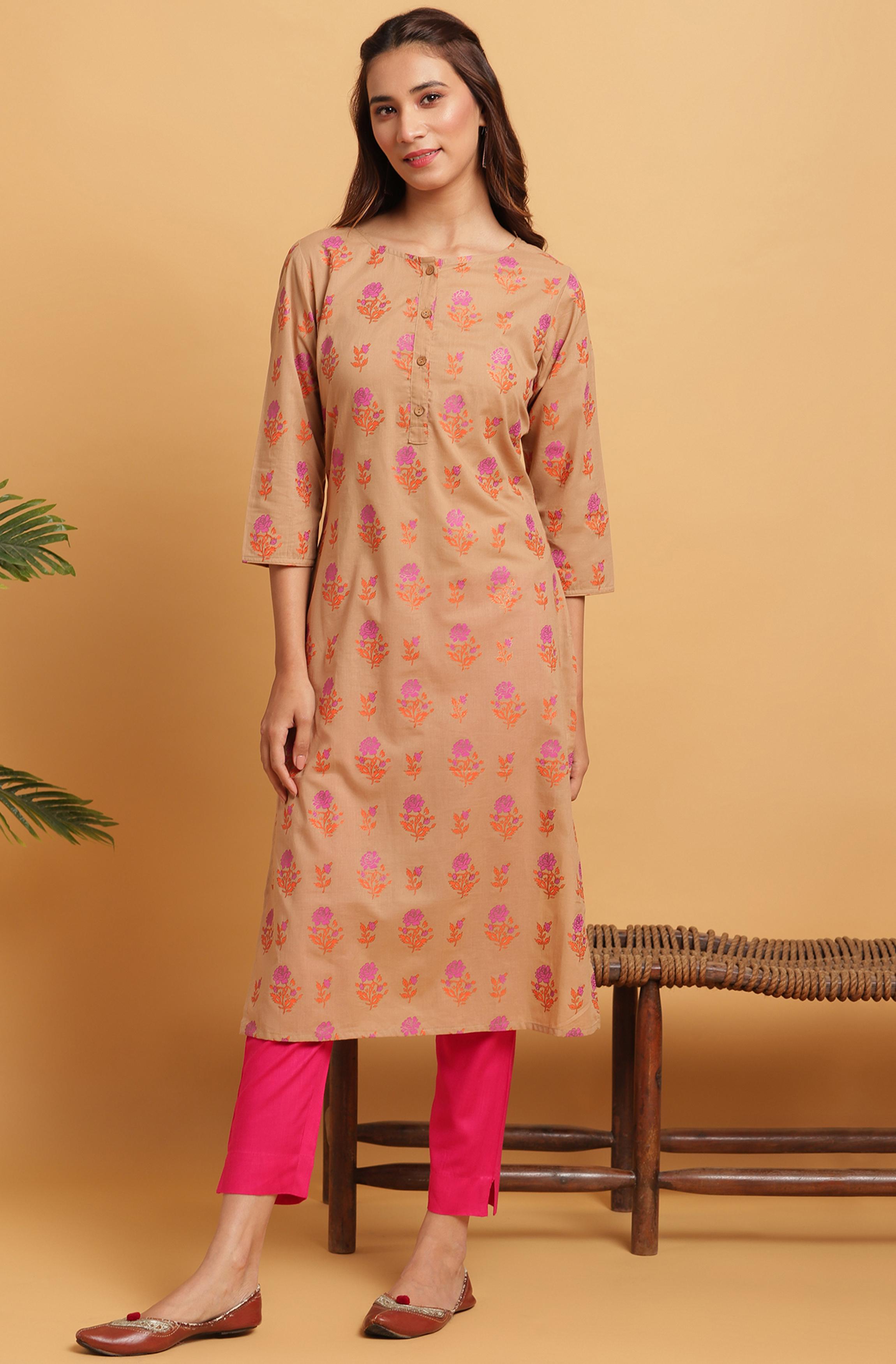 Janasya | Janasya Women's Brown Cotton Kurta