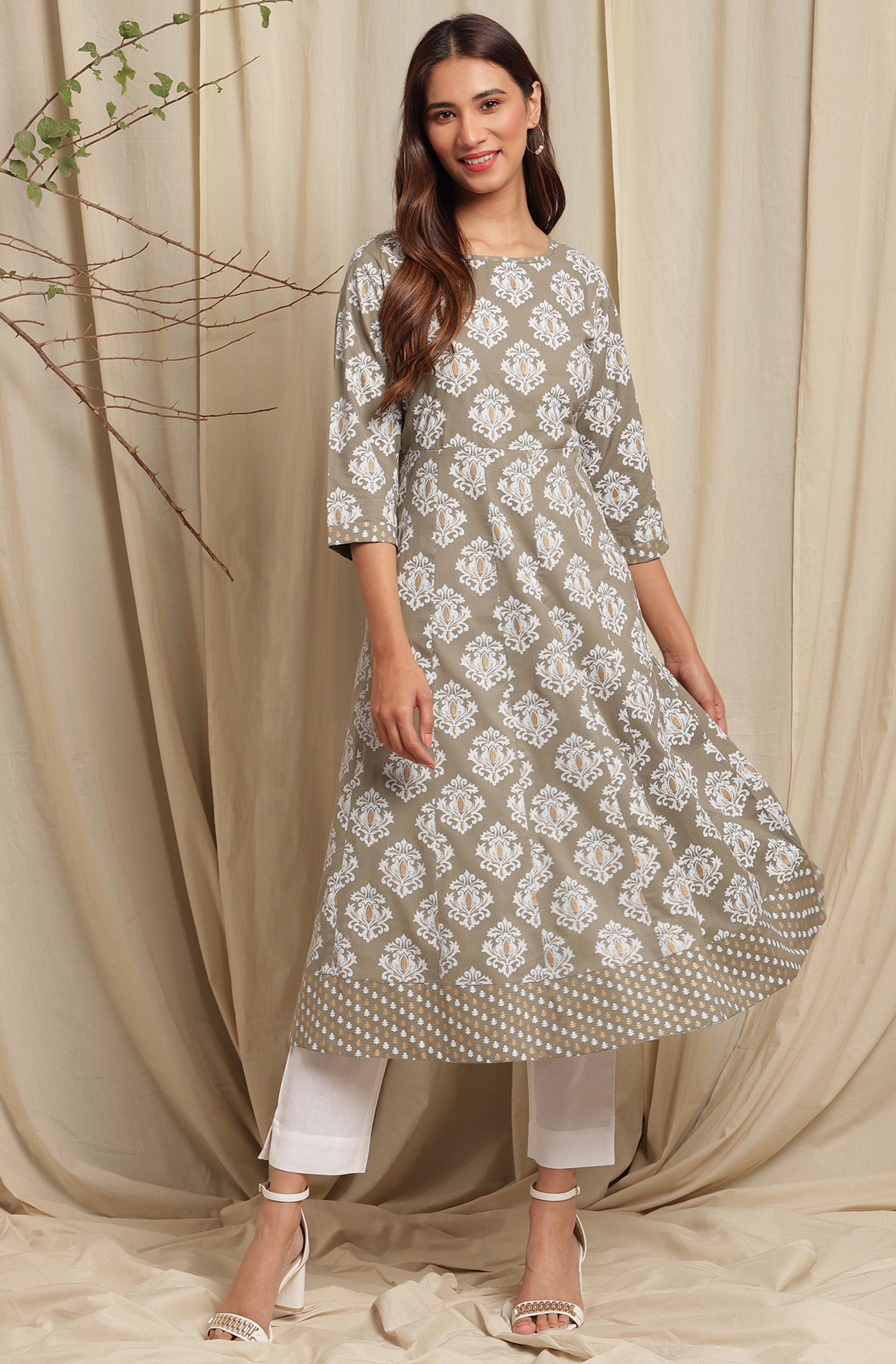 Janasya | Janasya Women's Green Cotton Kurta