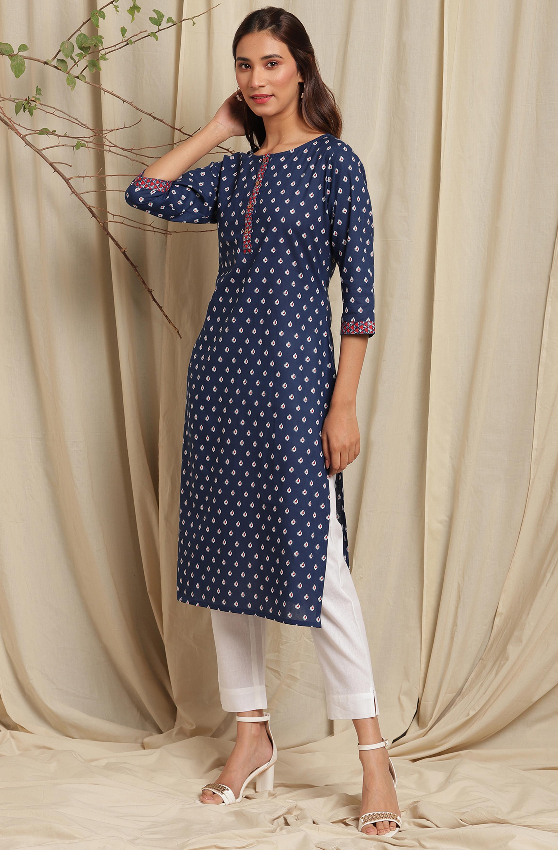 Janasya   Janasya Women's Blue Cotton Kurta