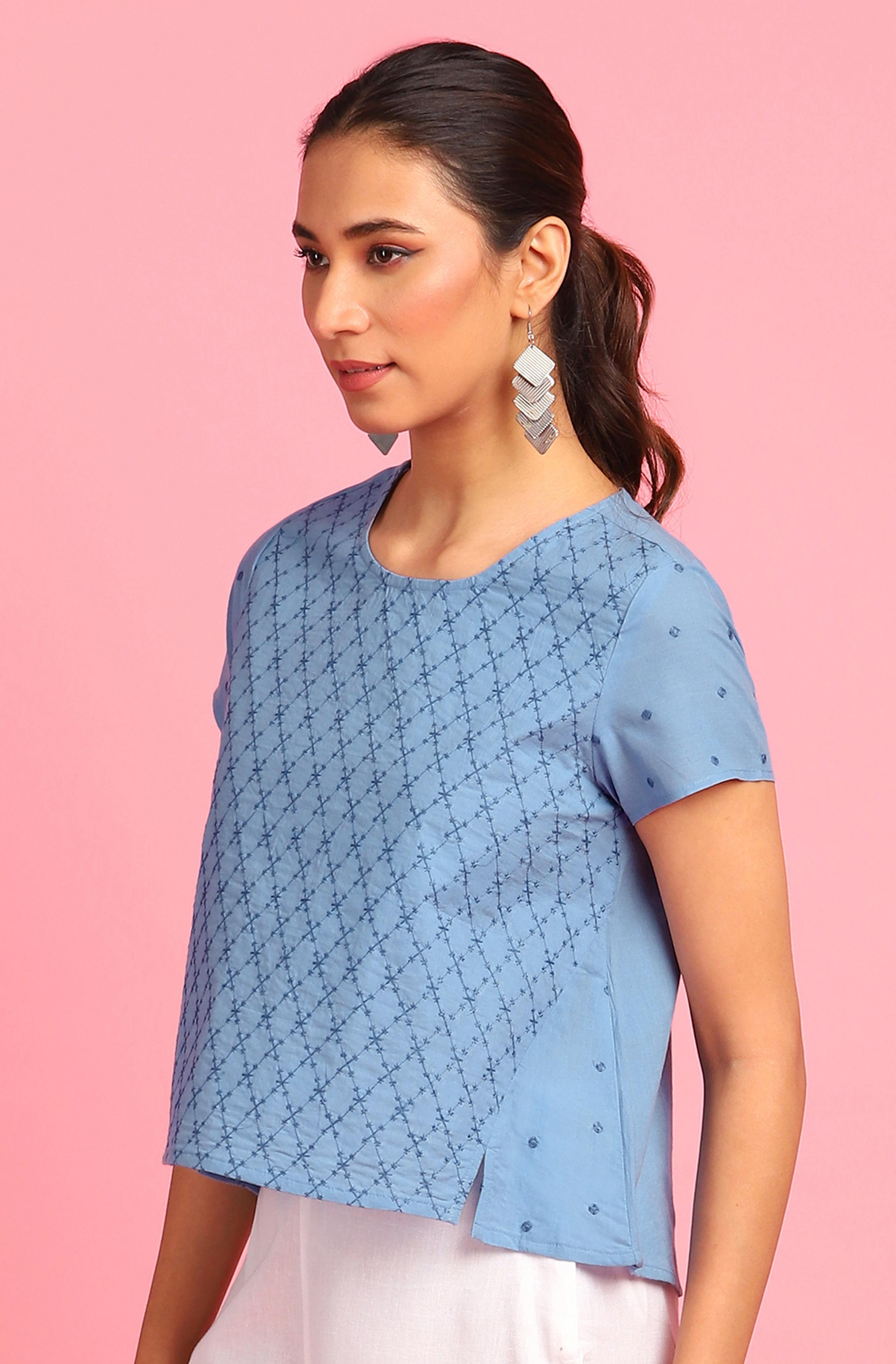 Janasya | Janasya Women's Blue Cotton Top