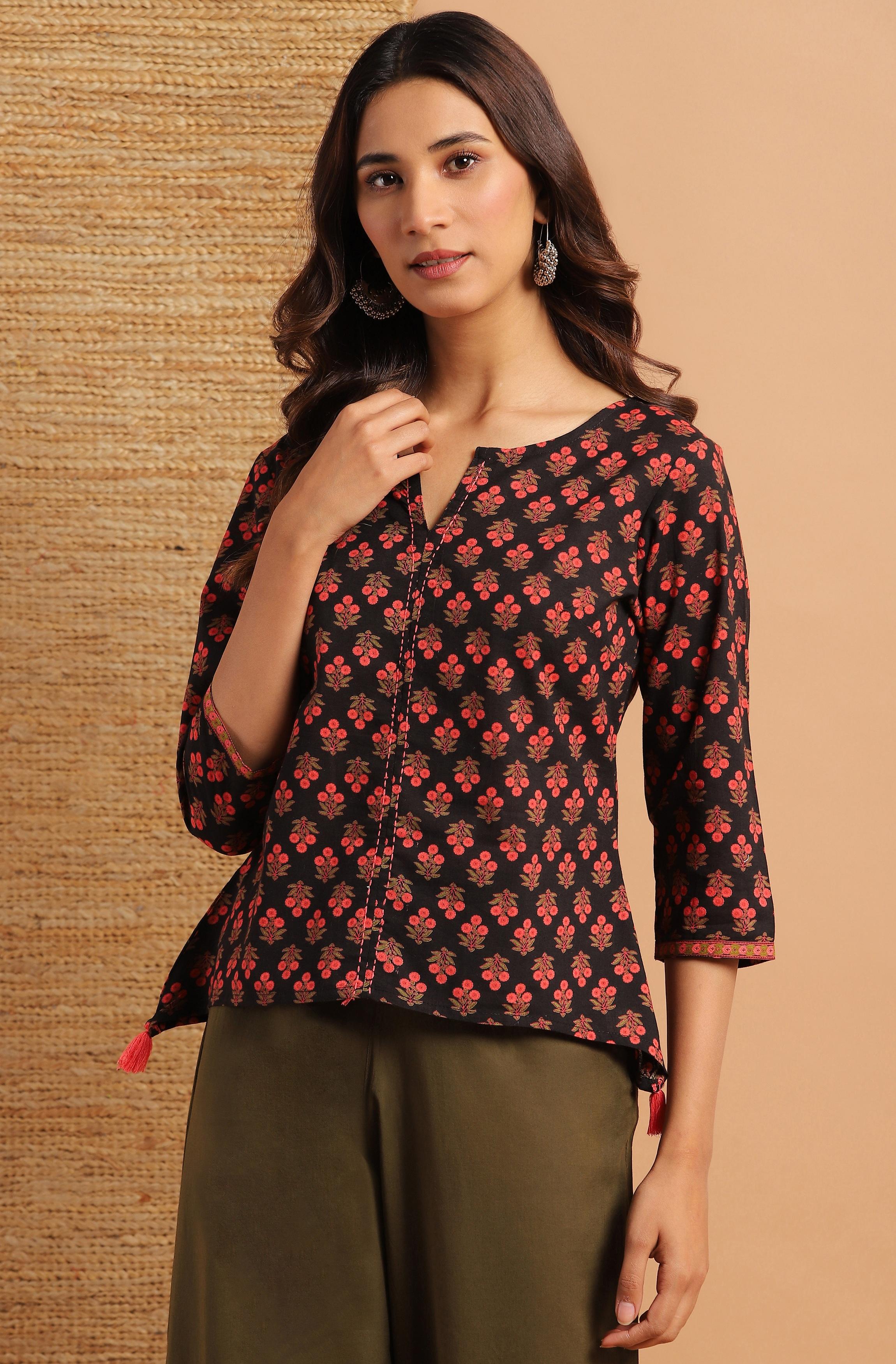 Janasya | Janasya Women's Black Cotton Top