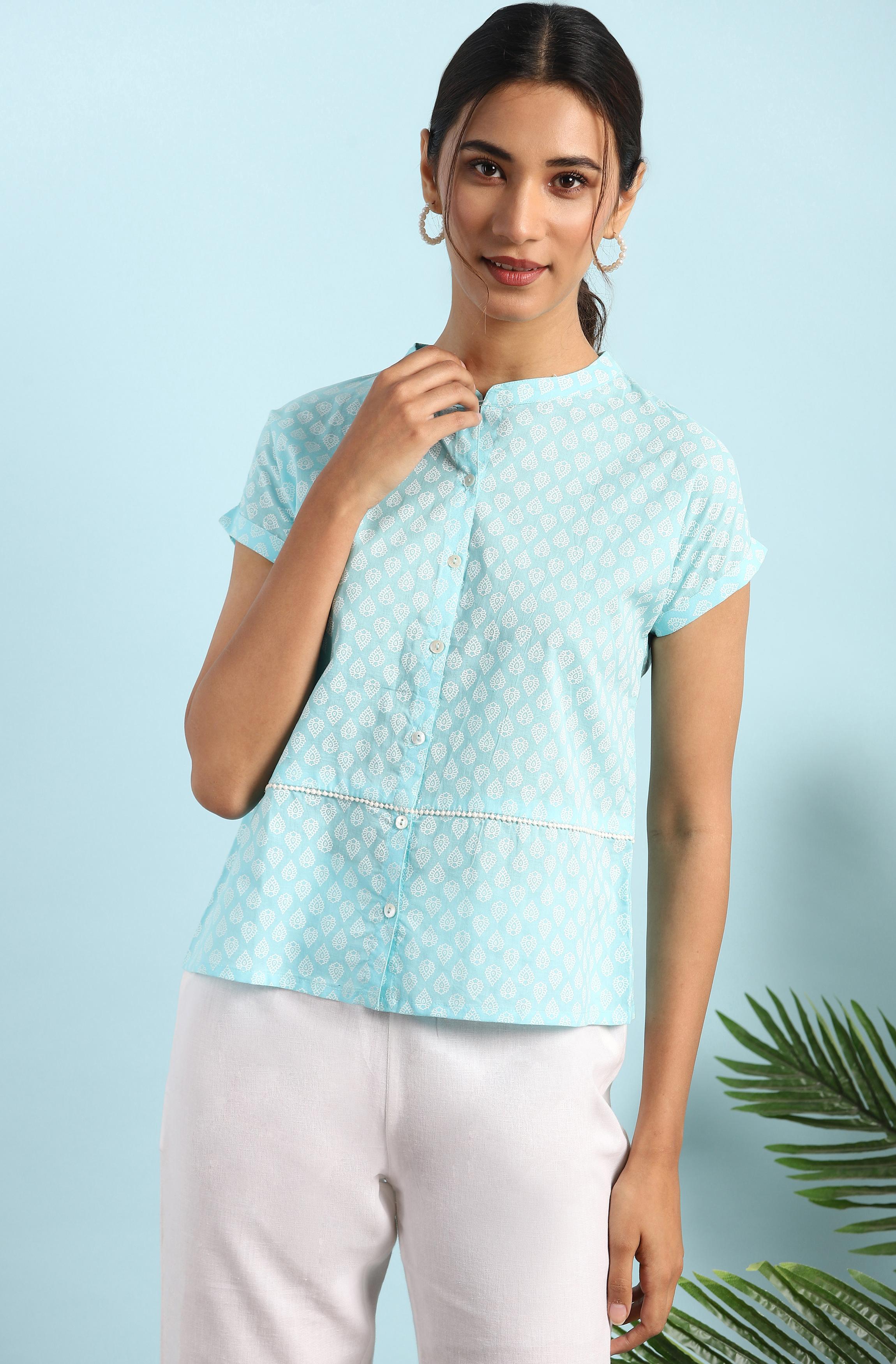 Janasya | Janasya Women's Sky Blue Cotton Top