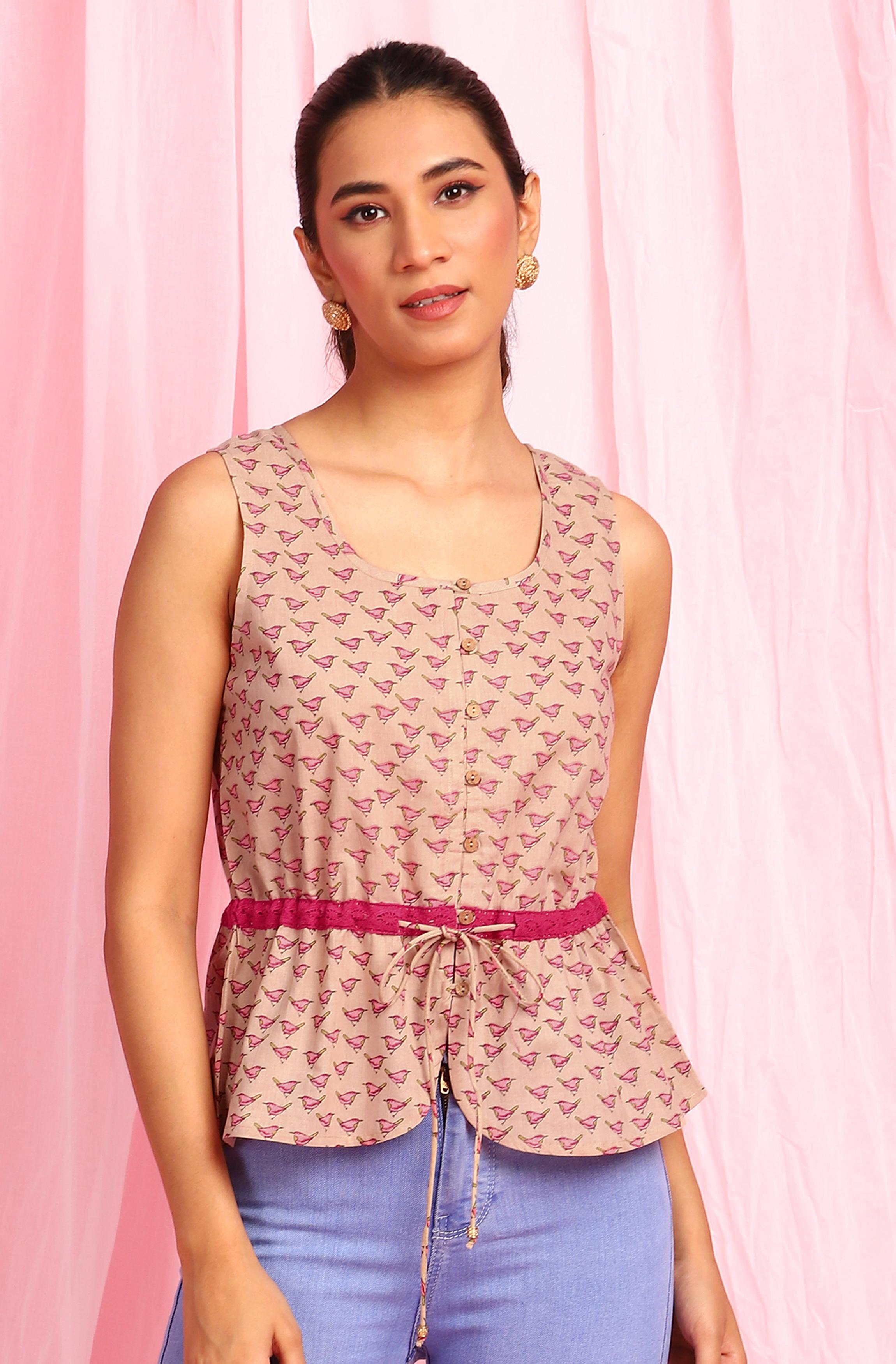 Janasya | Janasya Women's Beige Cotton Top