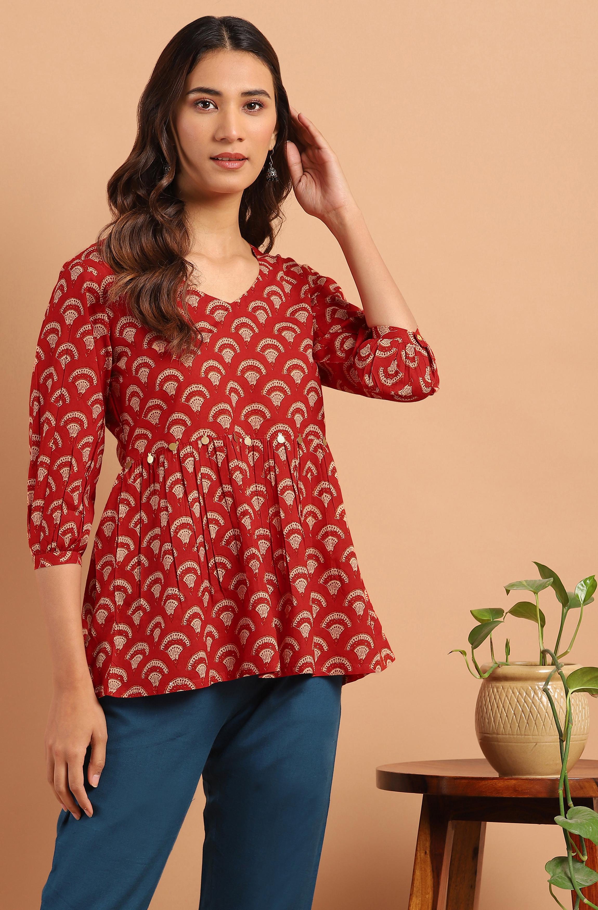 Janasya | Janasya Women's Red Cotton Tunic