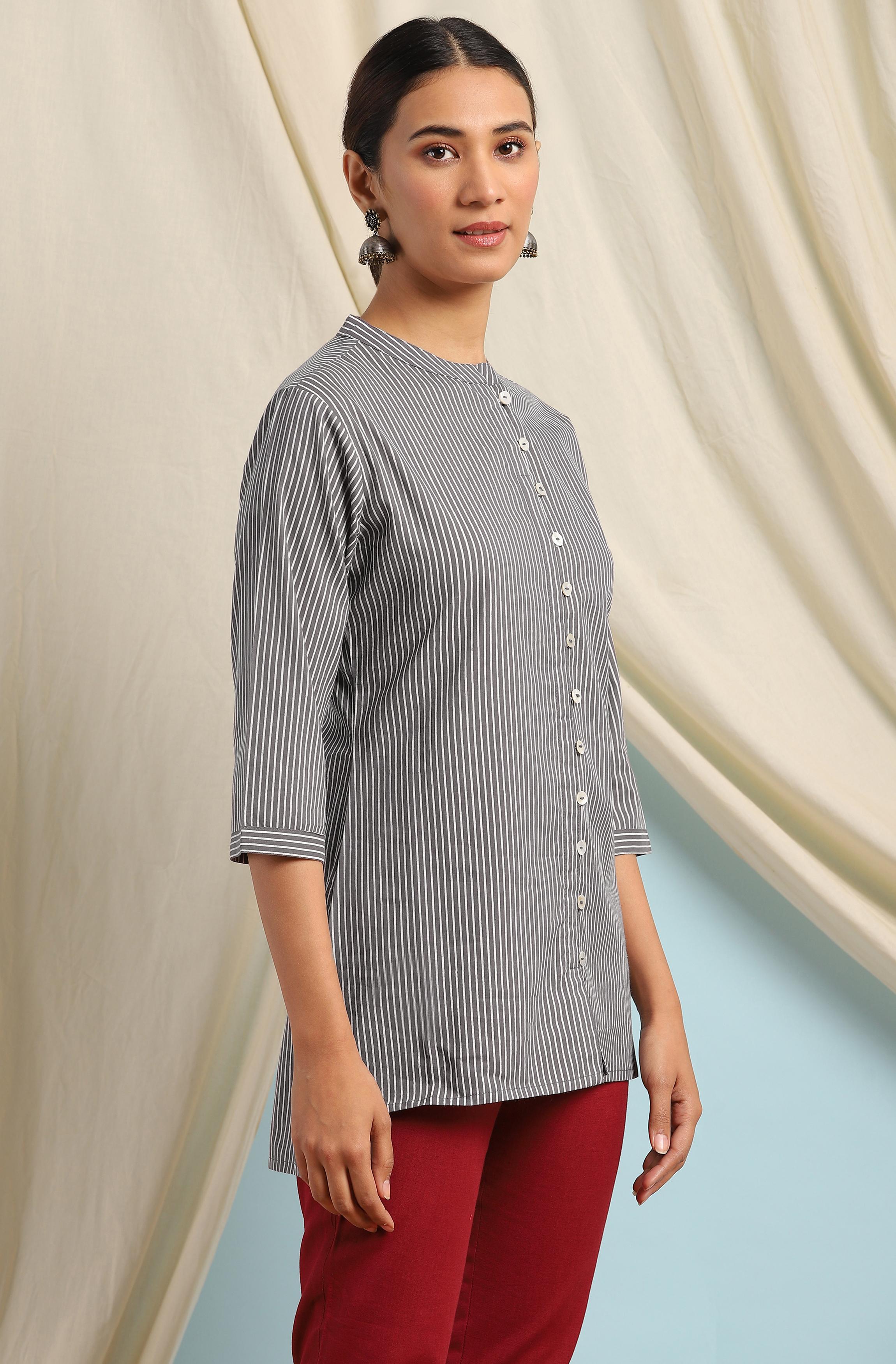 Janasya | Janasya Women's Grey Cotton Tunic