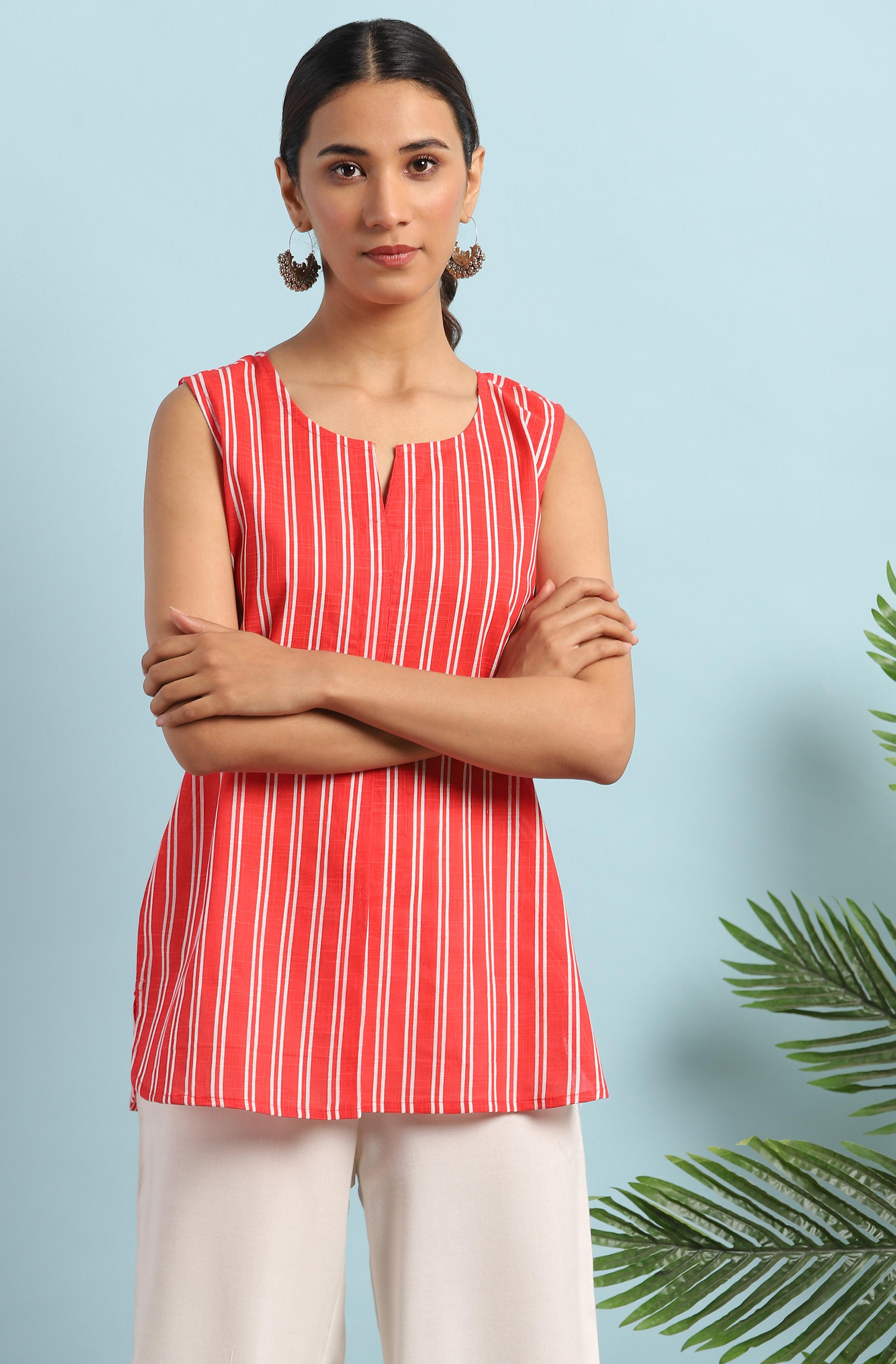 Janasya | Janasya Women's Red Cotton Slub Tunic