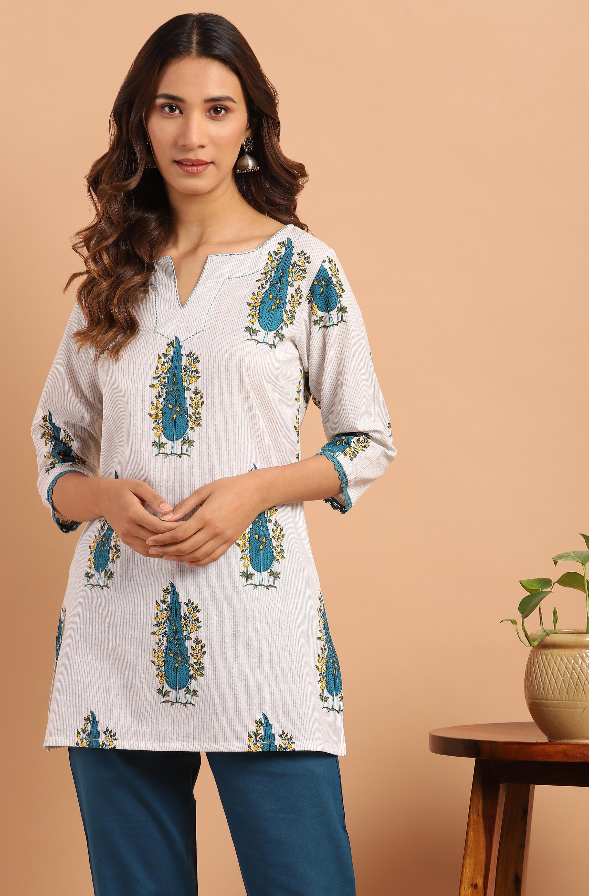 Janasya | Janasya Women's White Cotton Tunic
