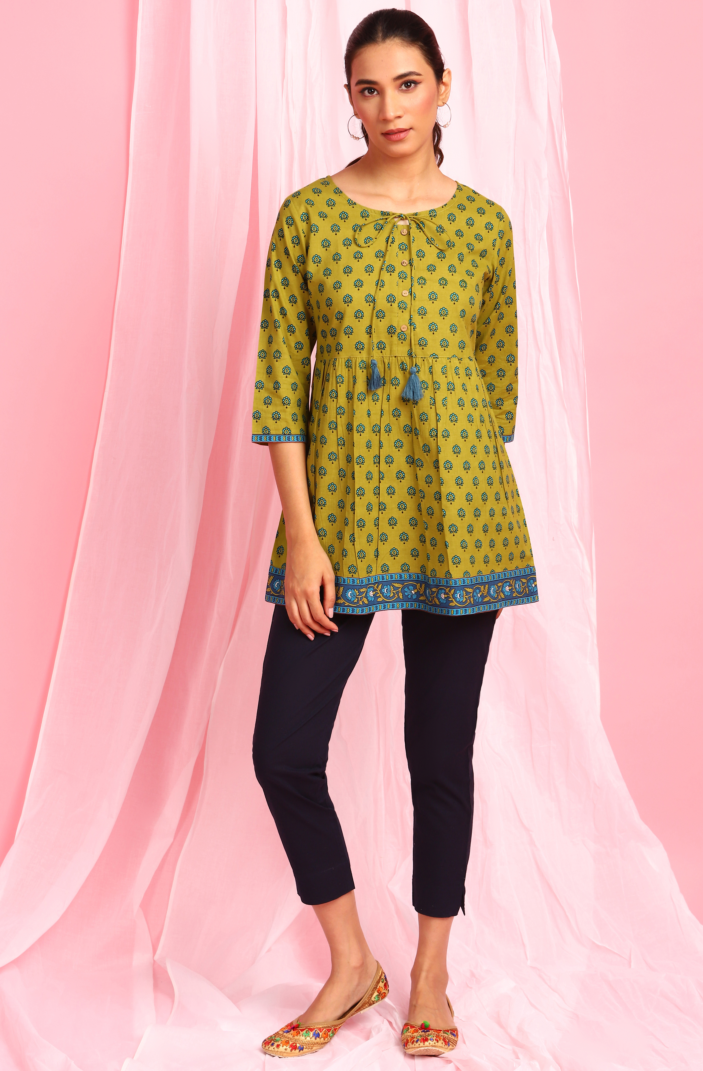 Janasya   Janasya Women's Green Cotton Tunic