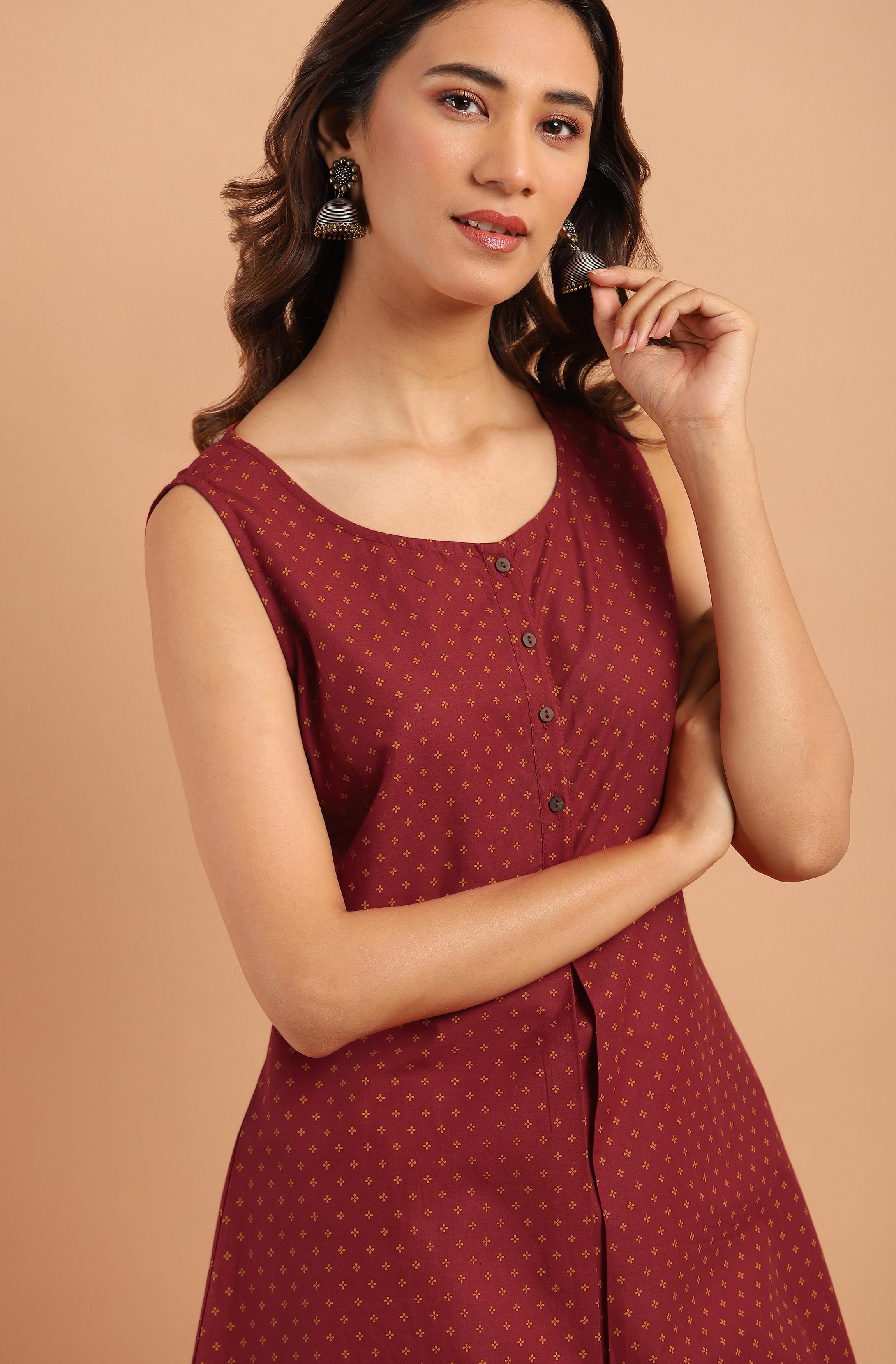 Janasya | Janasya Women's Maroon Cotton Tunic