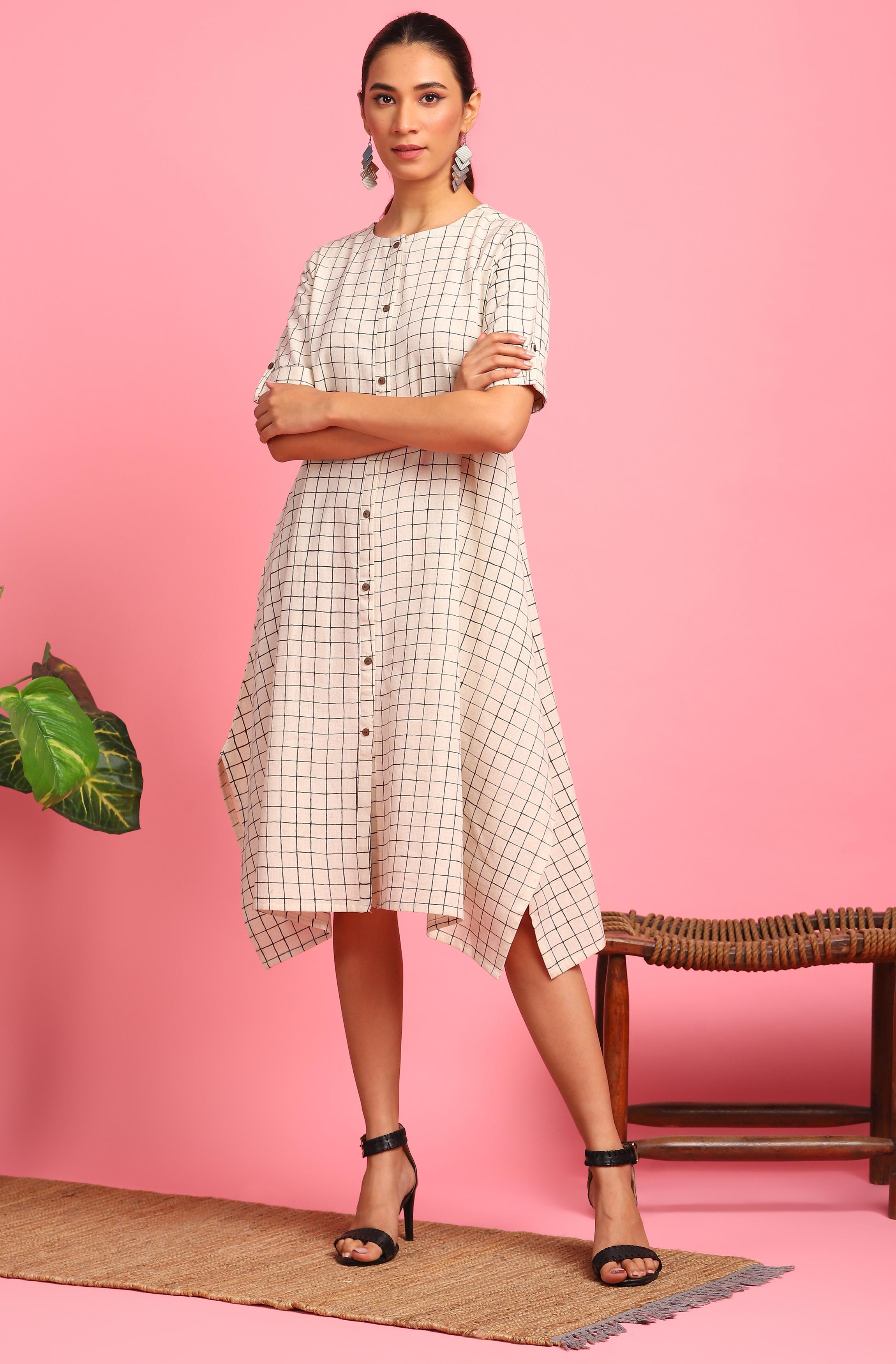 Janasya | Janasya Women's Cream Cotton Flex Western Dress