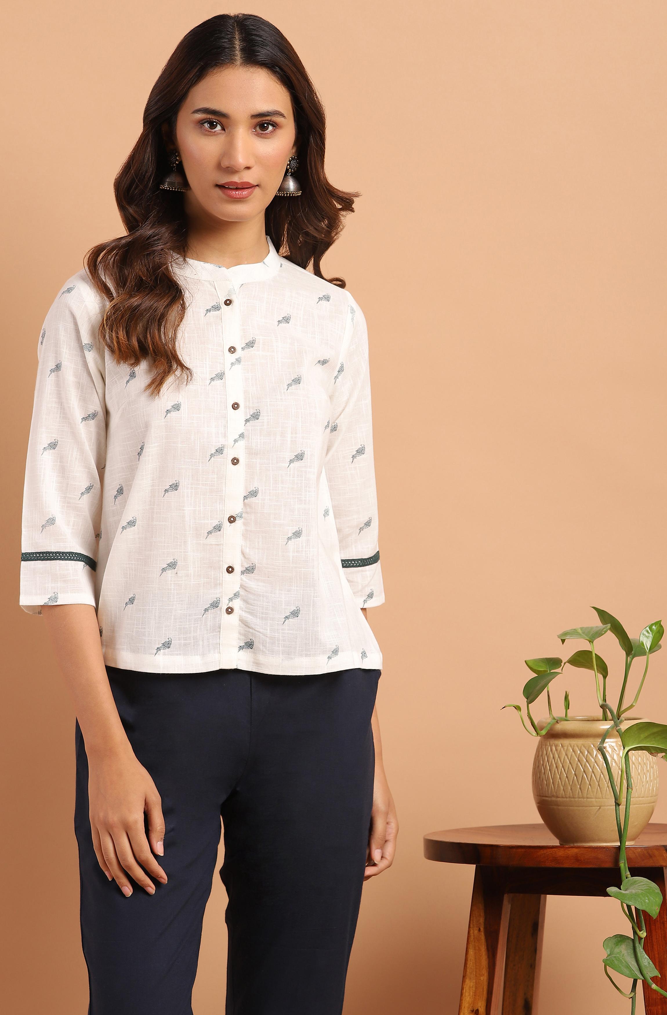 Janasya   Janasya Women's Off White Cotton Slub Top
