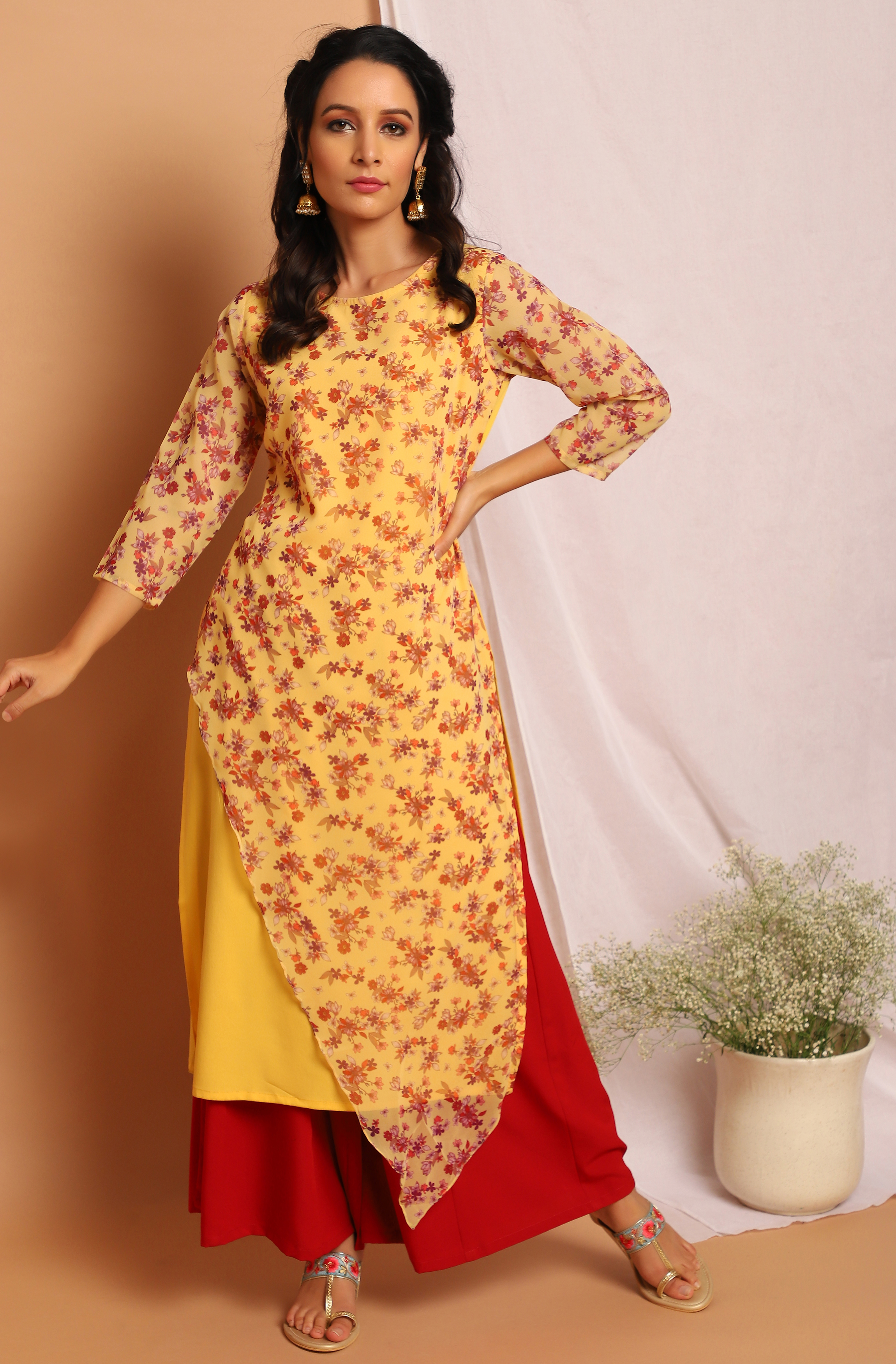 Janasya | Janasya Women's Yellow Poly Crepe Kurta