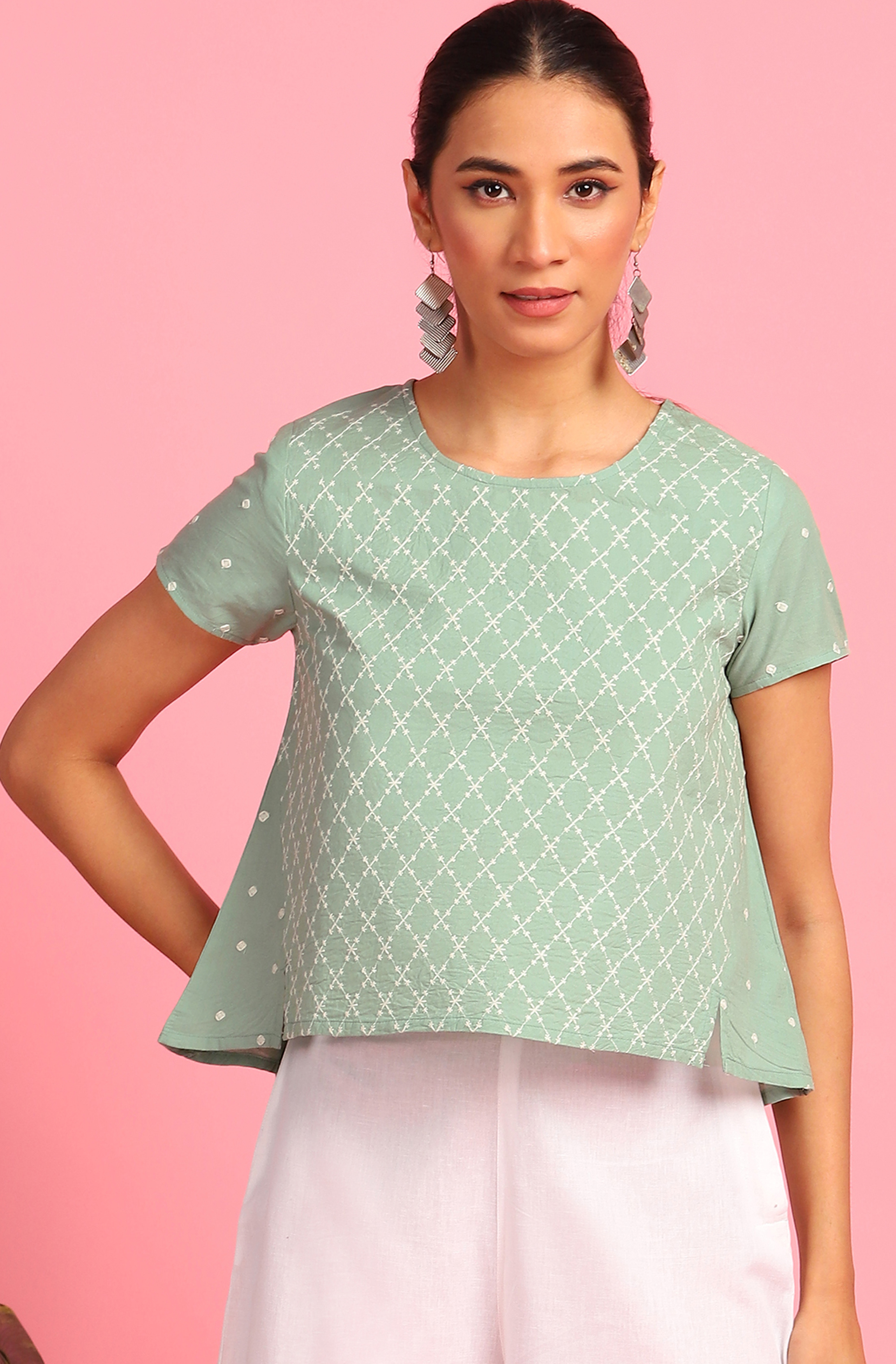 Janasya   Janasya Women's Light Green Cotton Top
