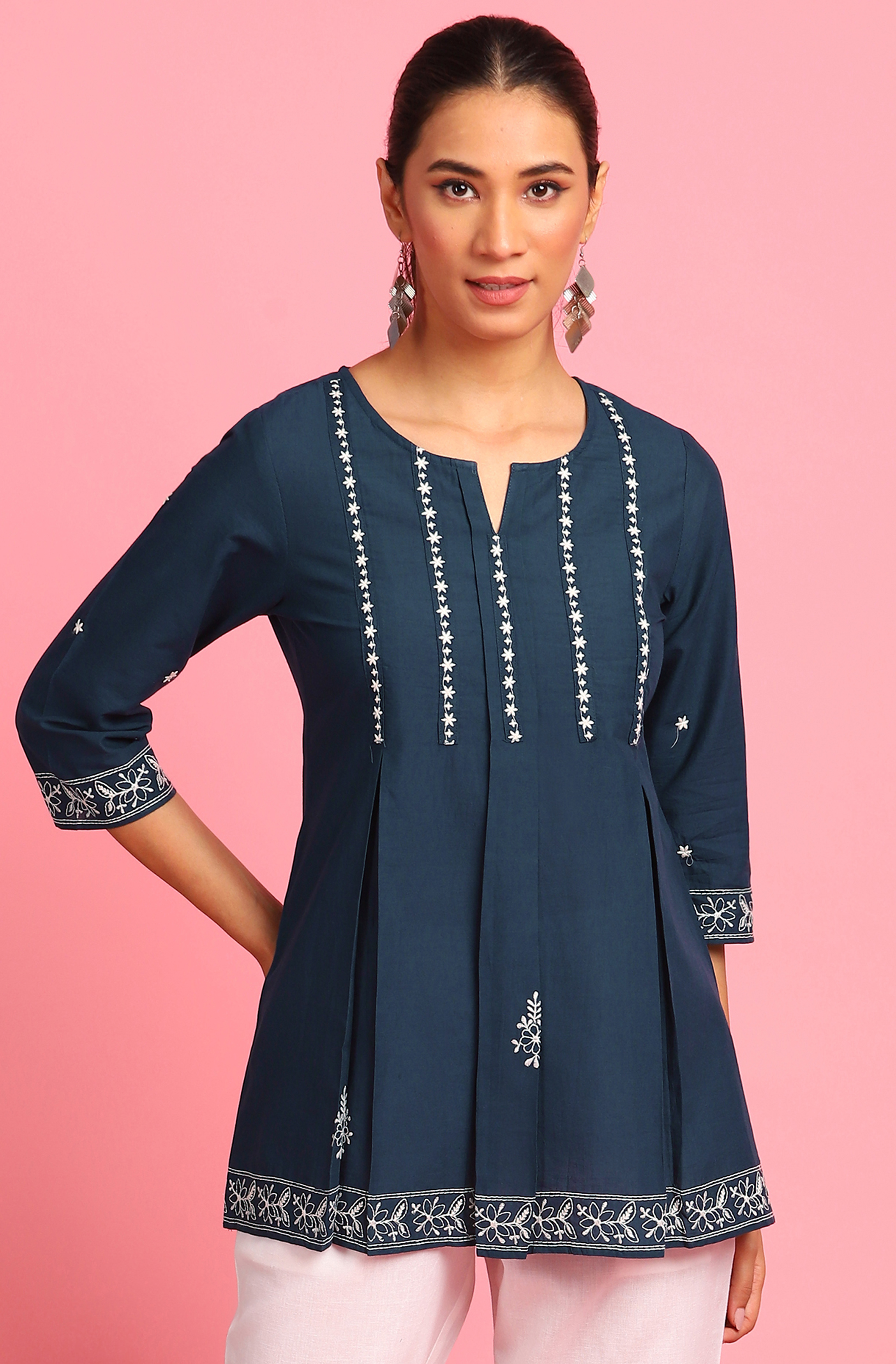 Janasya | Janasya Women's Navy Blue Cotton Tunic