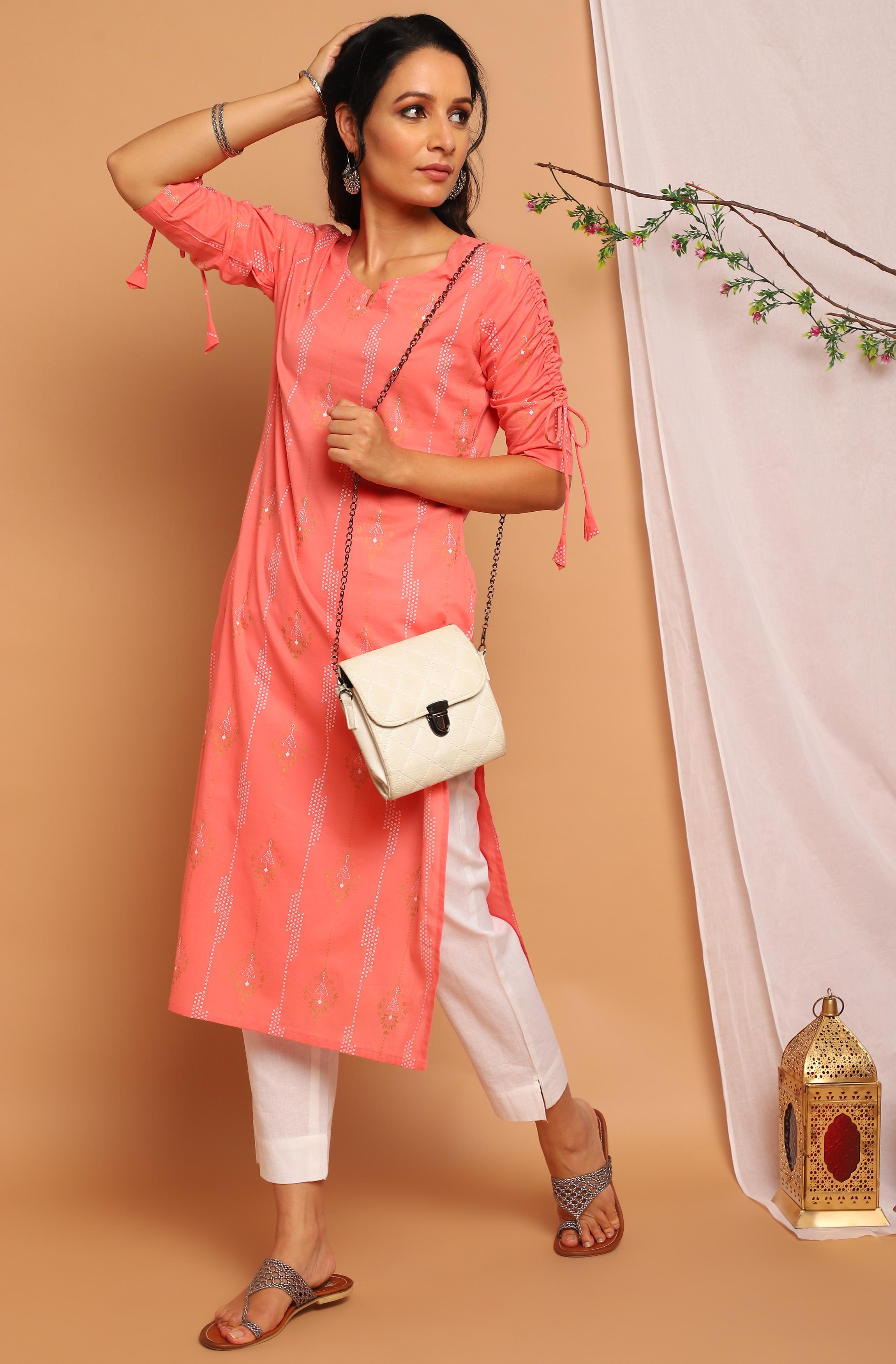 Janasya   Janasya Women's Pink Cotton Kurta