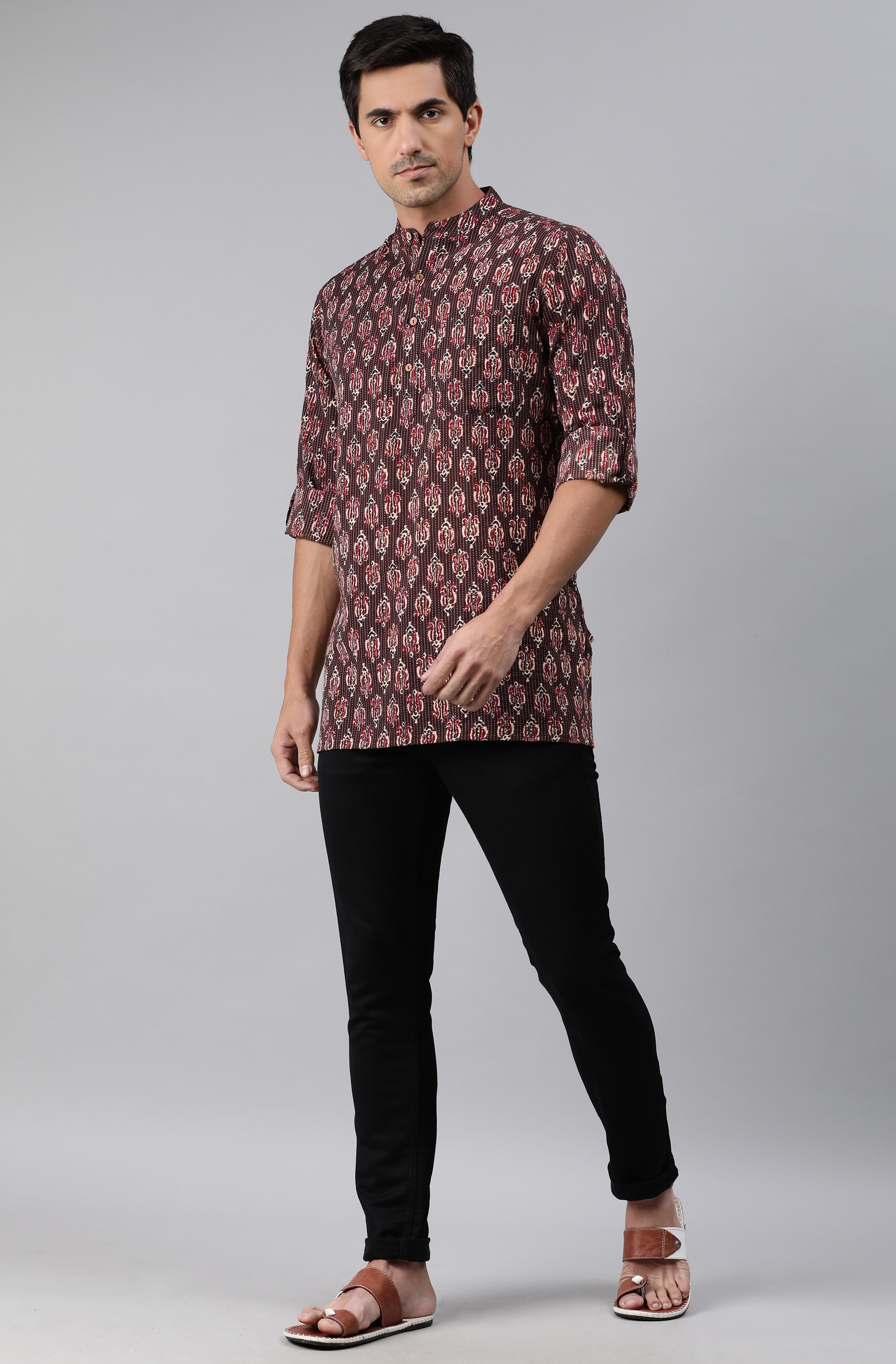 Janasya | Janasya Men's Brown Cotton Kurta