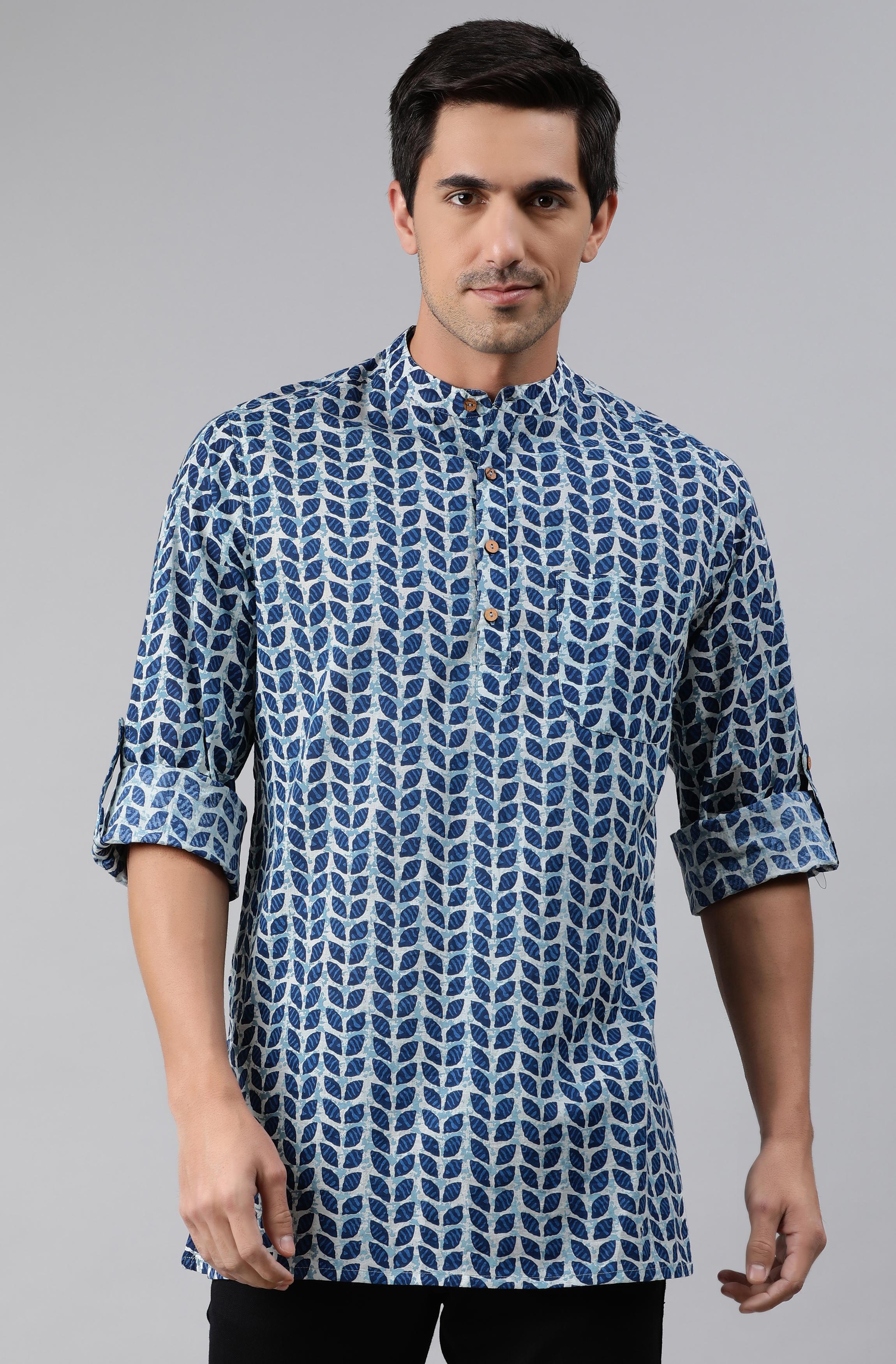 Janasya | Janasya Men's Blue Cotton Kurta