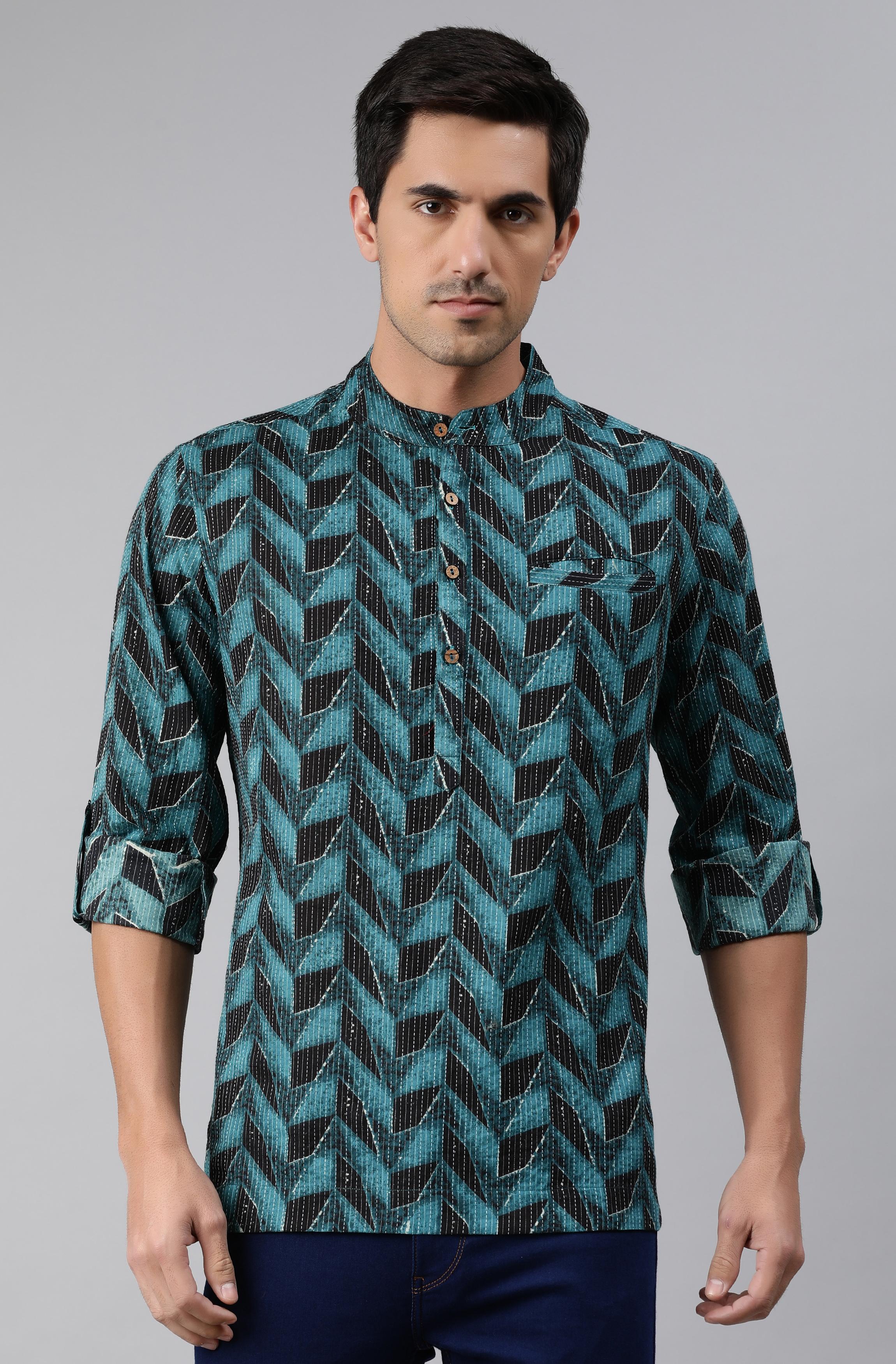 Janasya | Janasya Men's Teal Cotton Kurta
