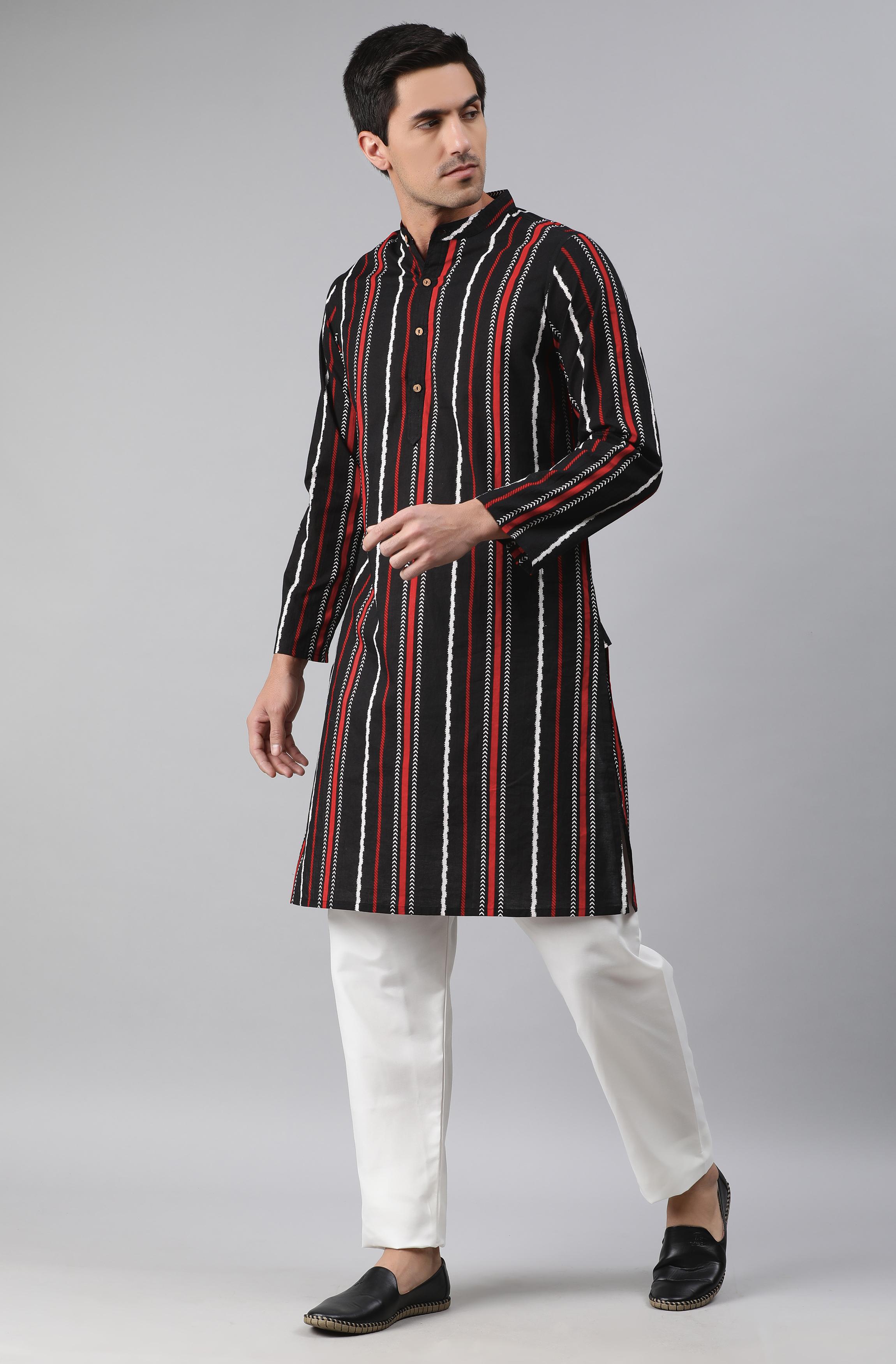 Janasya | Janasya Men's Black Cotton Kurta
