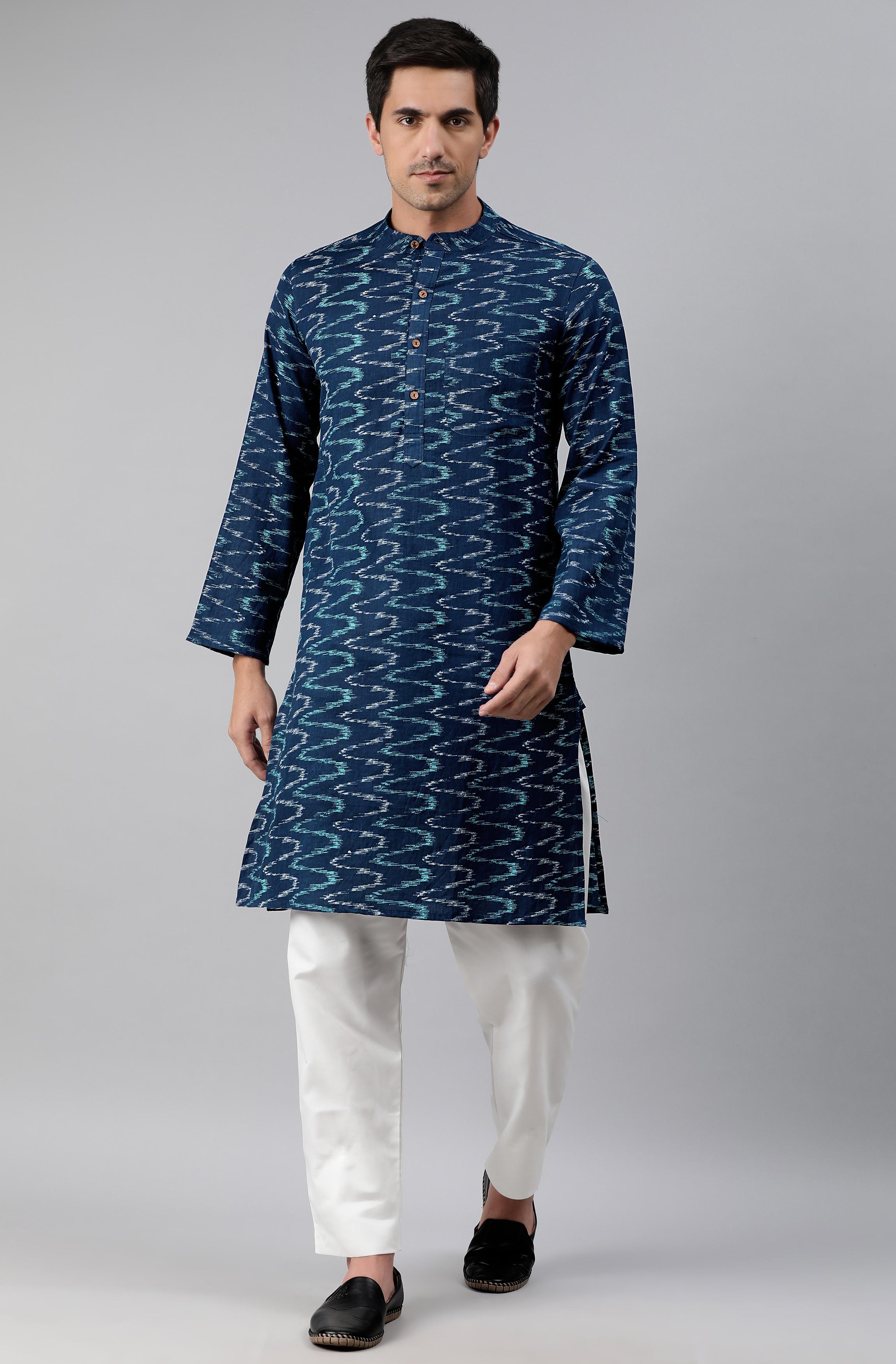 Janasya | Janasya Men's Blue Cotton Flex Kurta