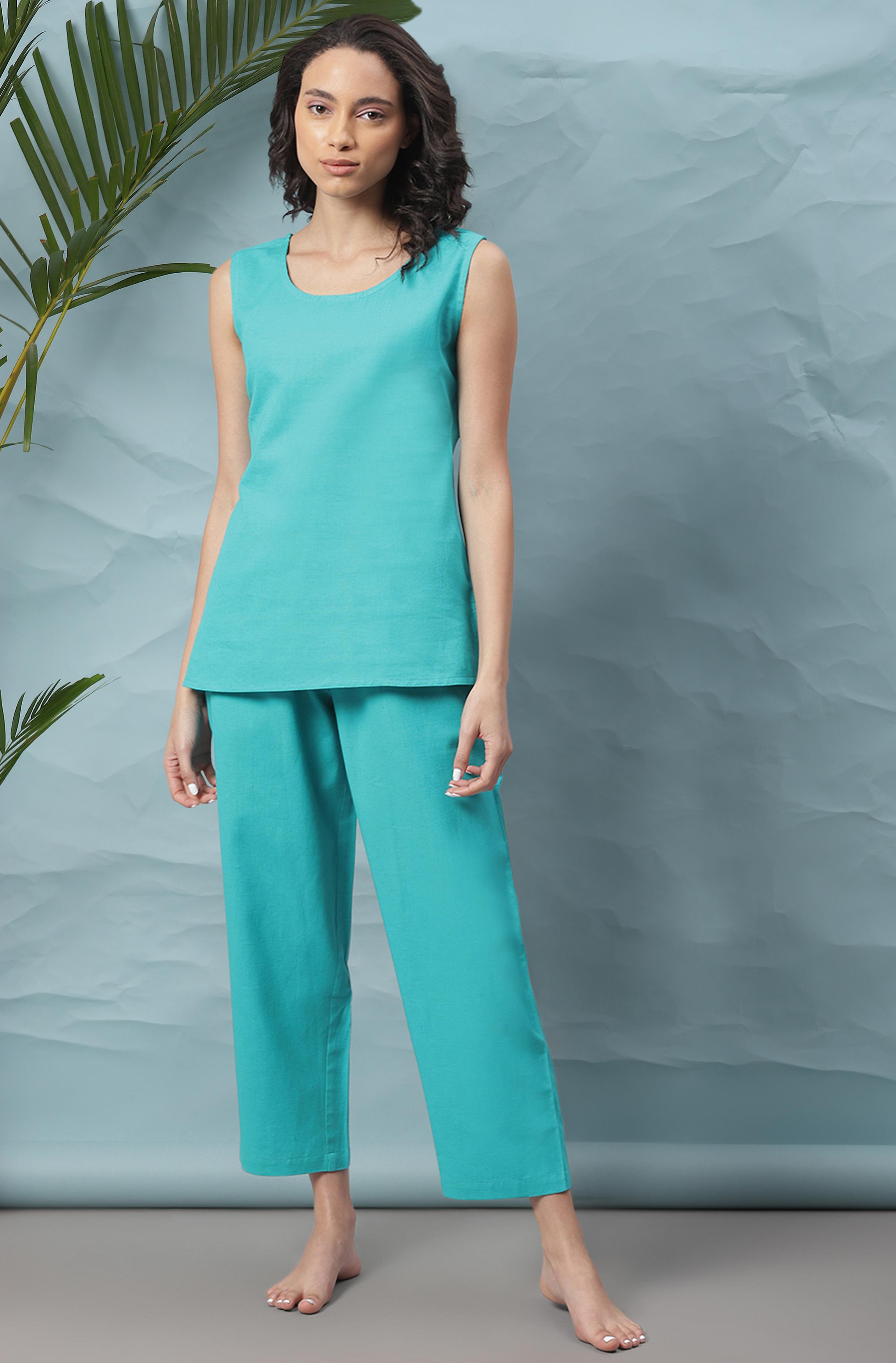Janasya | Janasya Women's Turquoise Blue Cotton Flex Night Suit Set