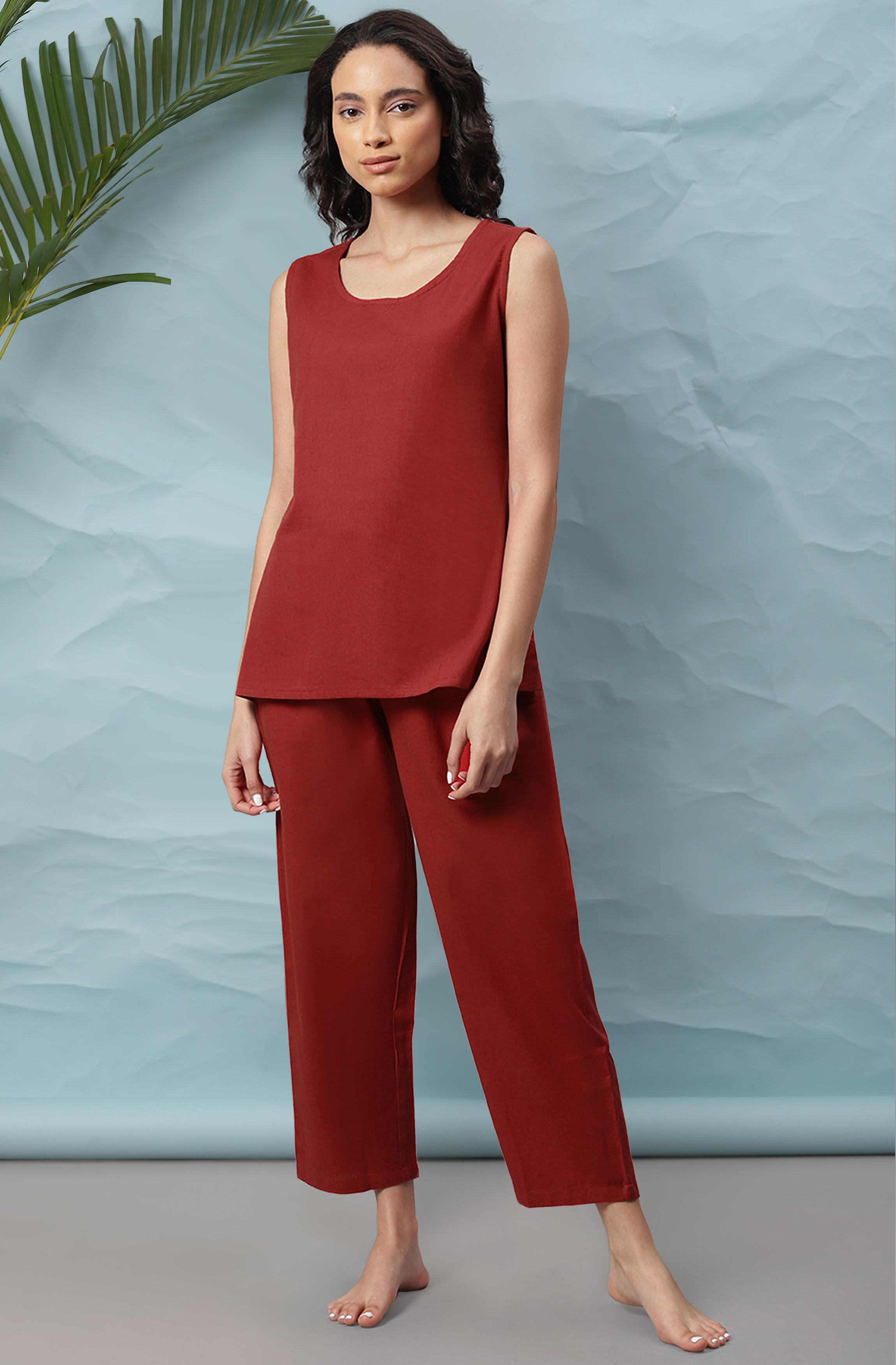 Janasya | Janasya Women's Maroon Cotton Flex Night Suit Set