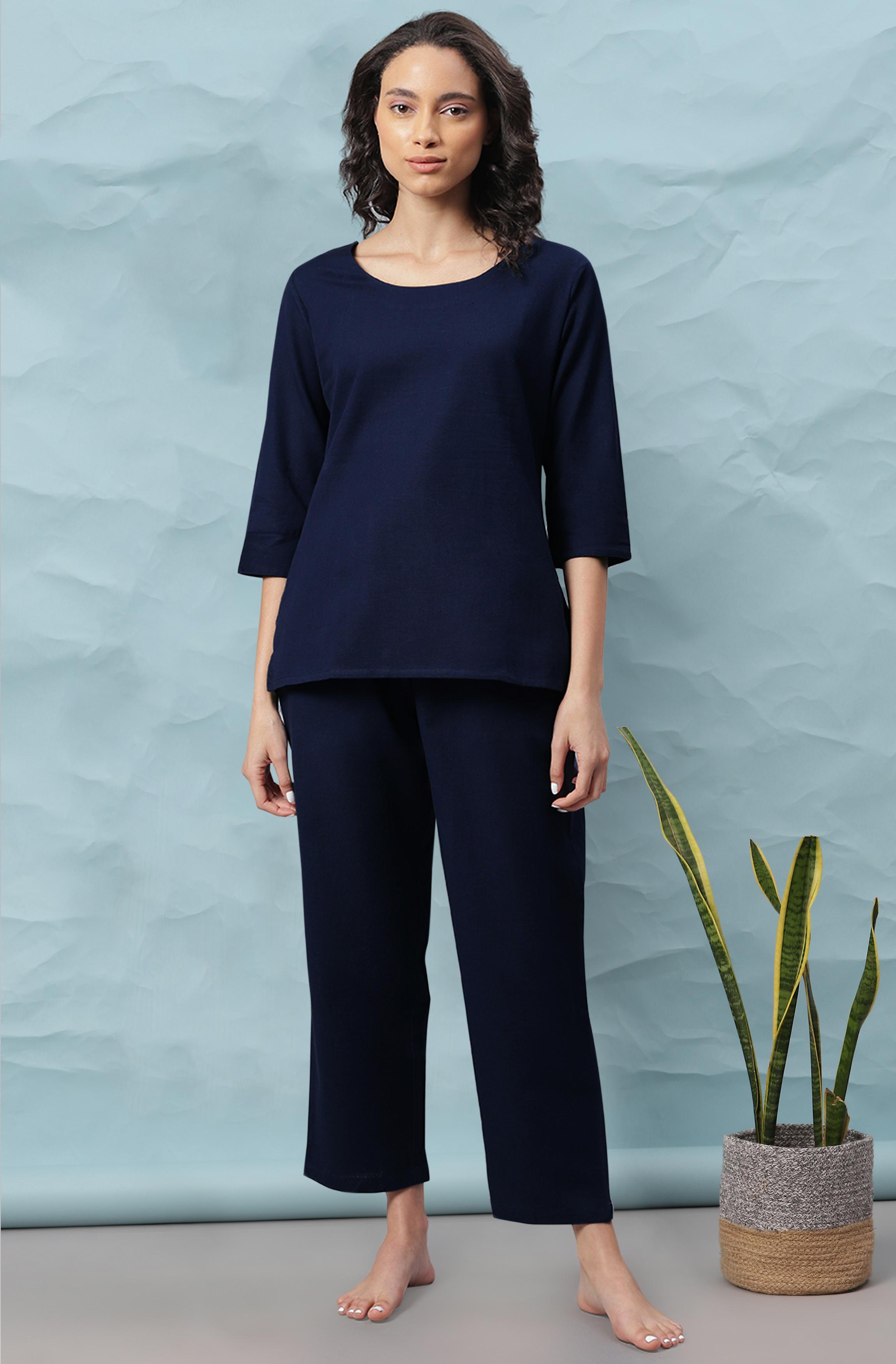 Janasya | Janasya Women's Navy Blue Cotton Flex Night Suit Set