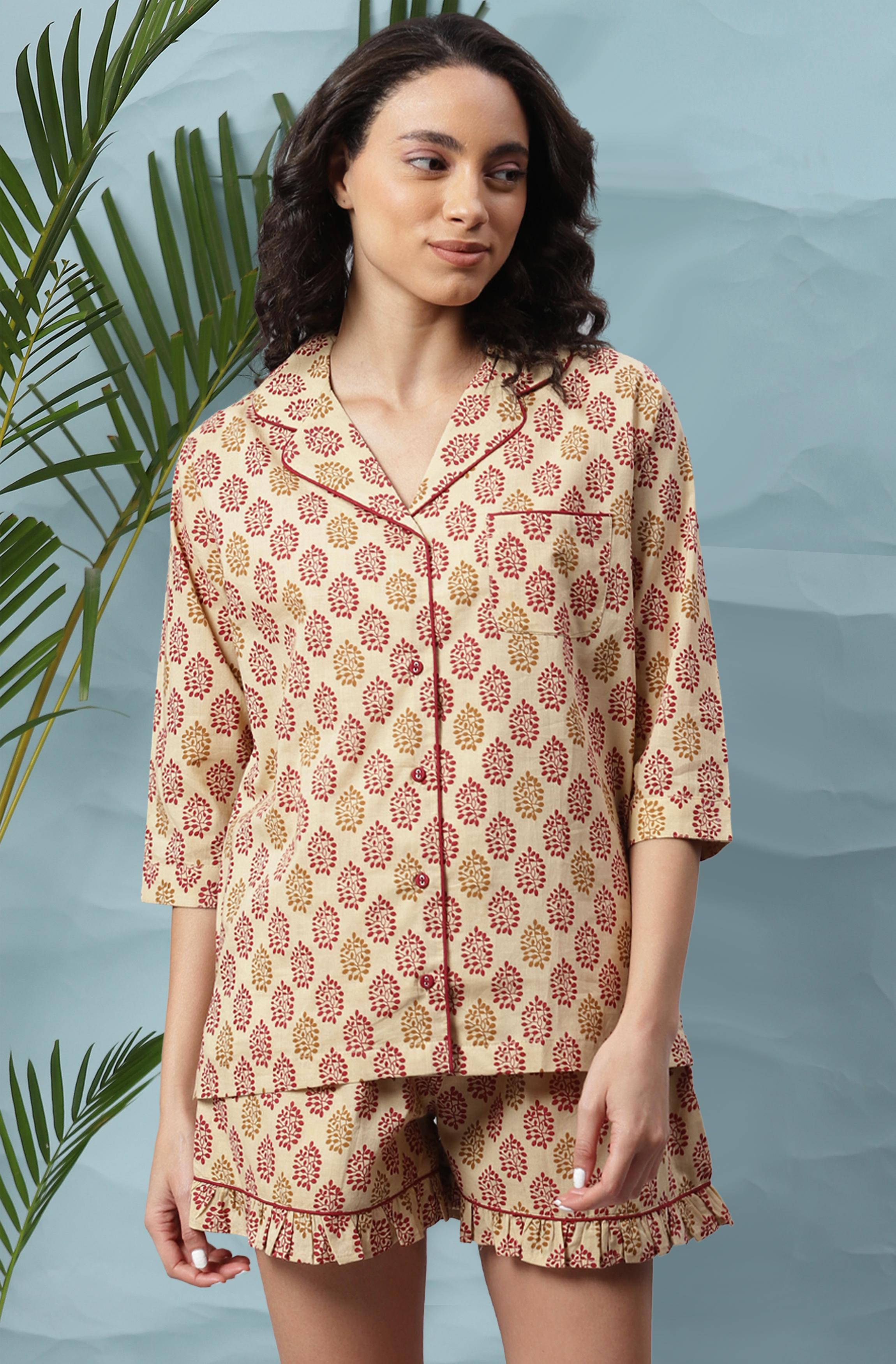 Janasya | Janasya Women's Beige Cotton Night Suit Set