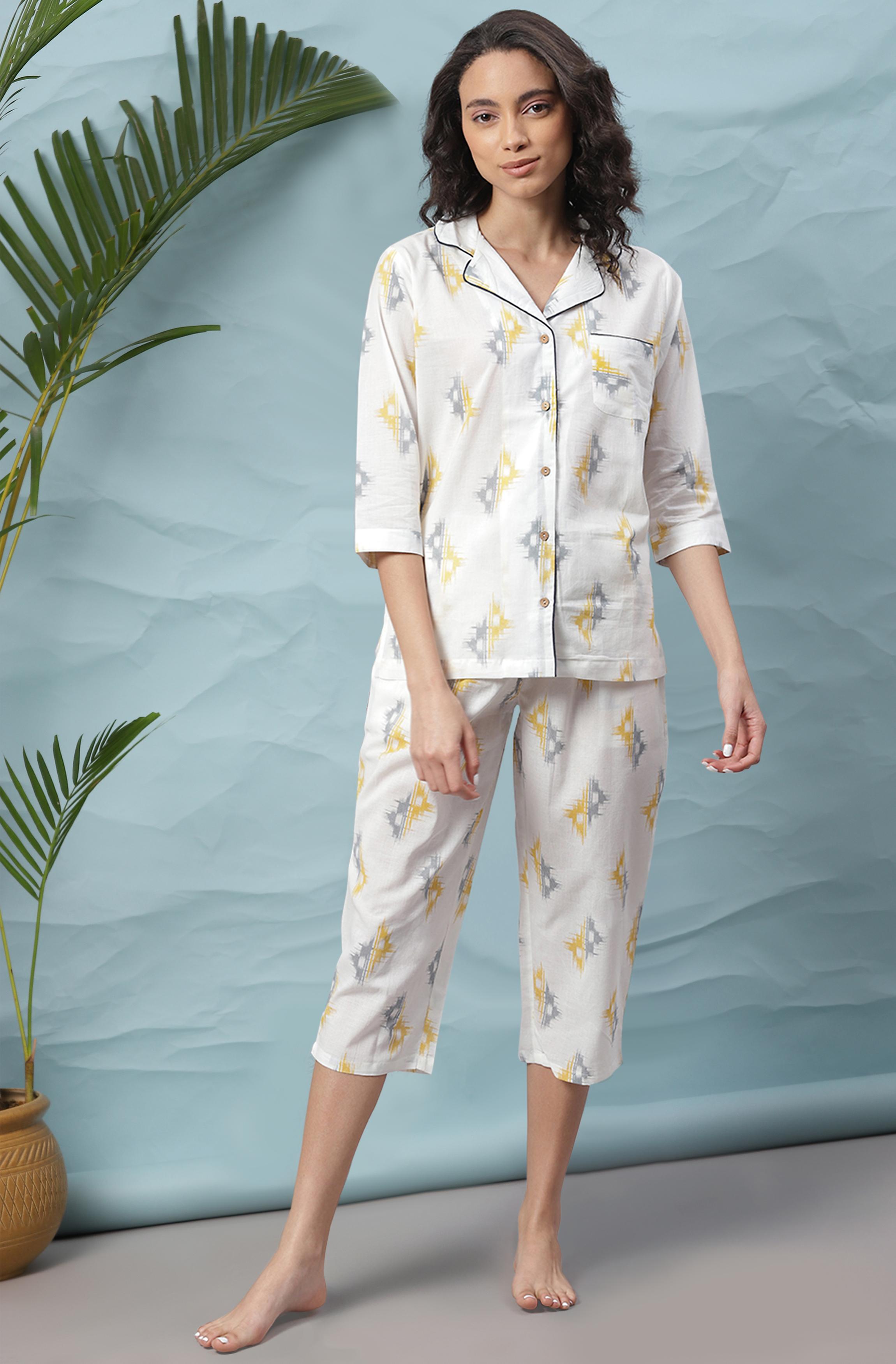 Janasya   Janasya Women's Off-White Cotton Night Suit Set