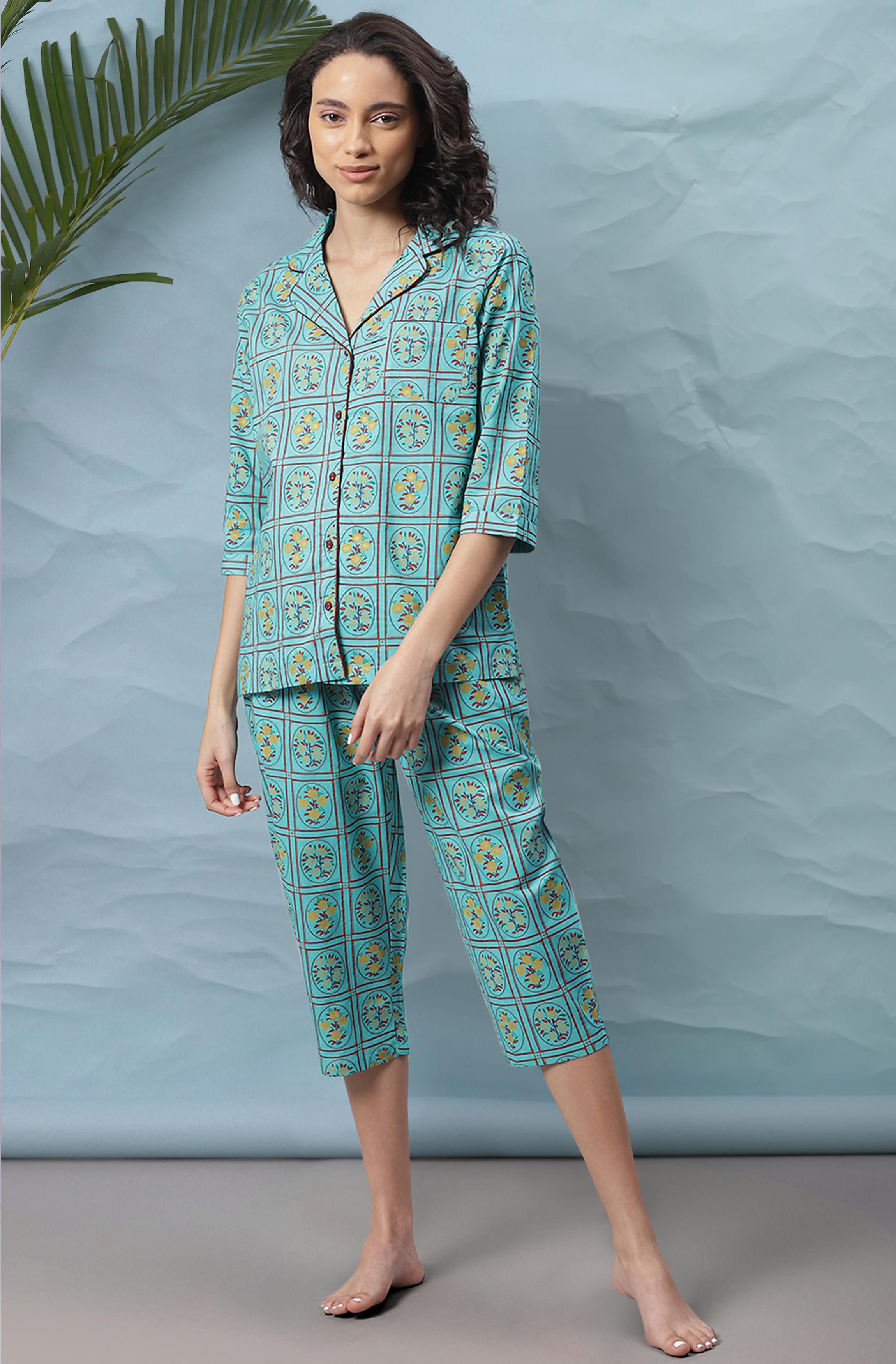 Janasya | Janasya Women's Turquoise Cotton Night Suit Set