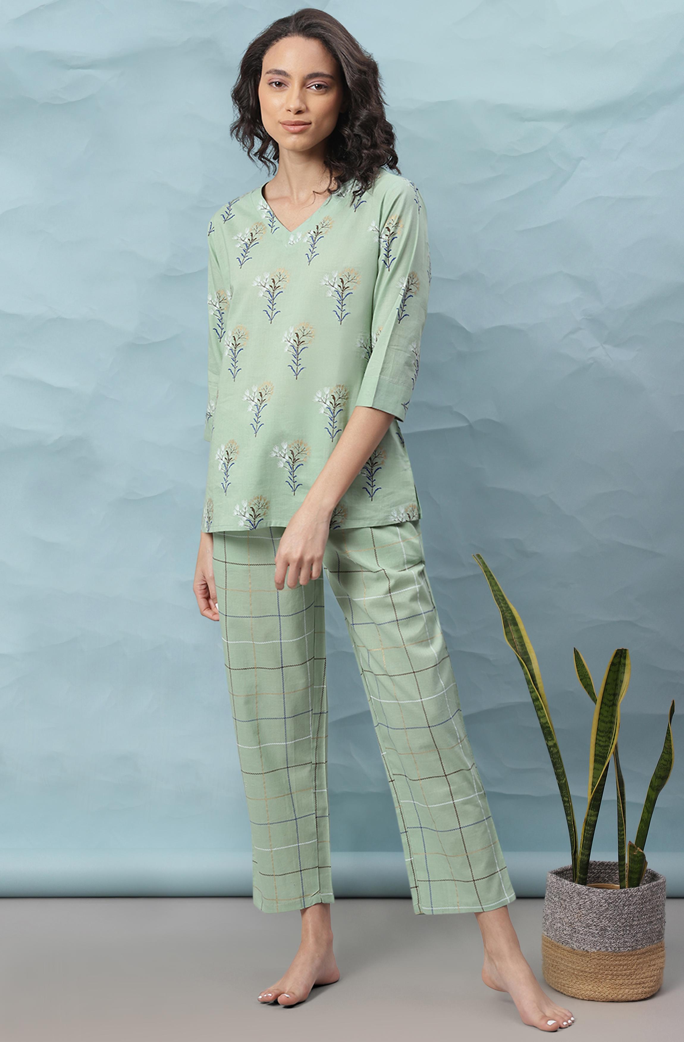 Janasya   Janasya Women's Green Cotton Night Suit Set