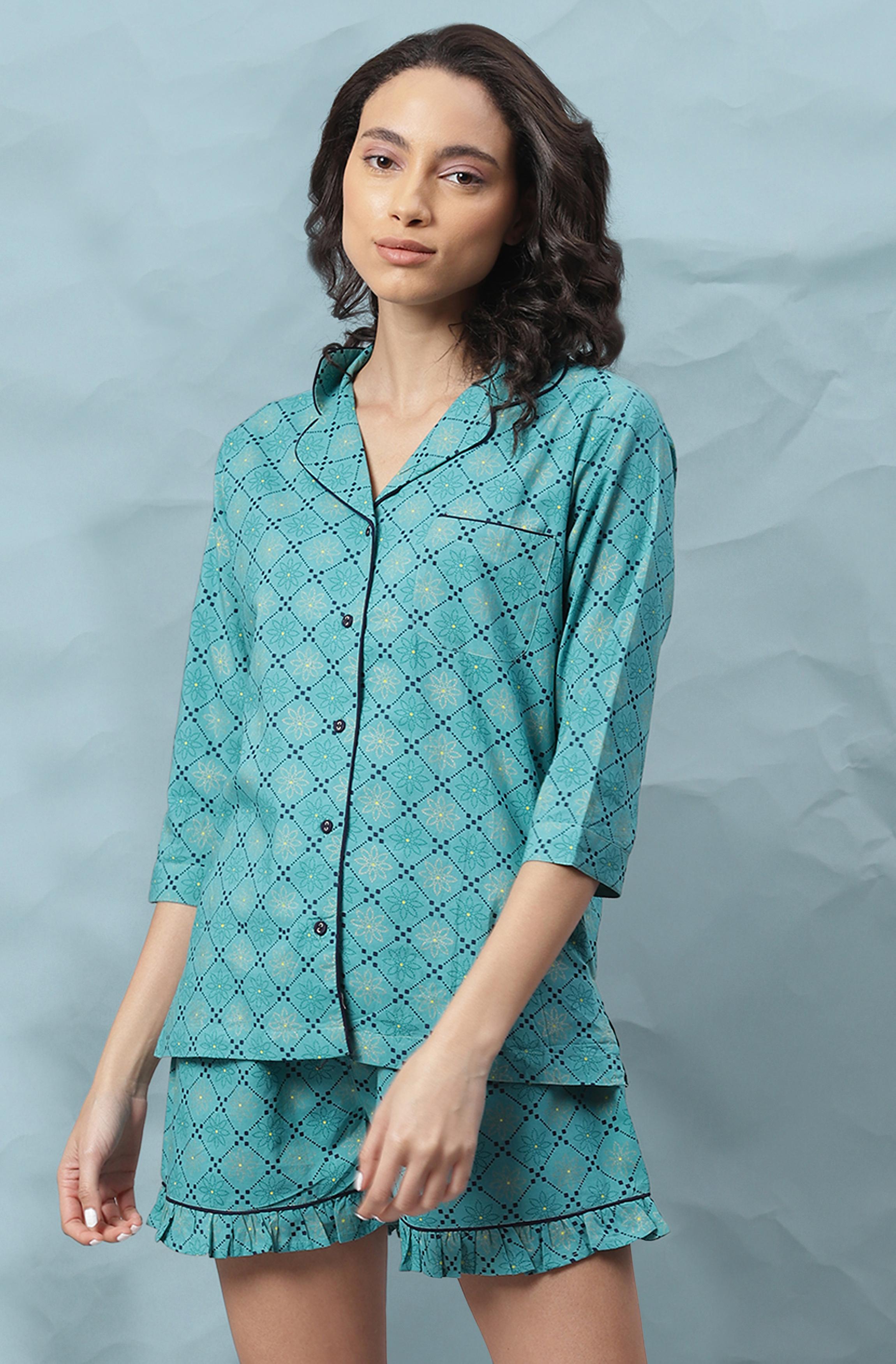 Janasya   Janasya Women's Turquoise Cotton Night Suit Set