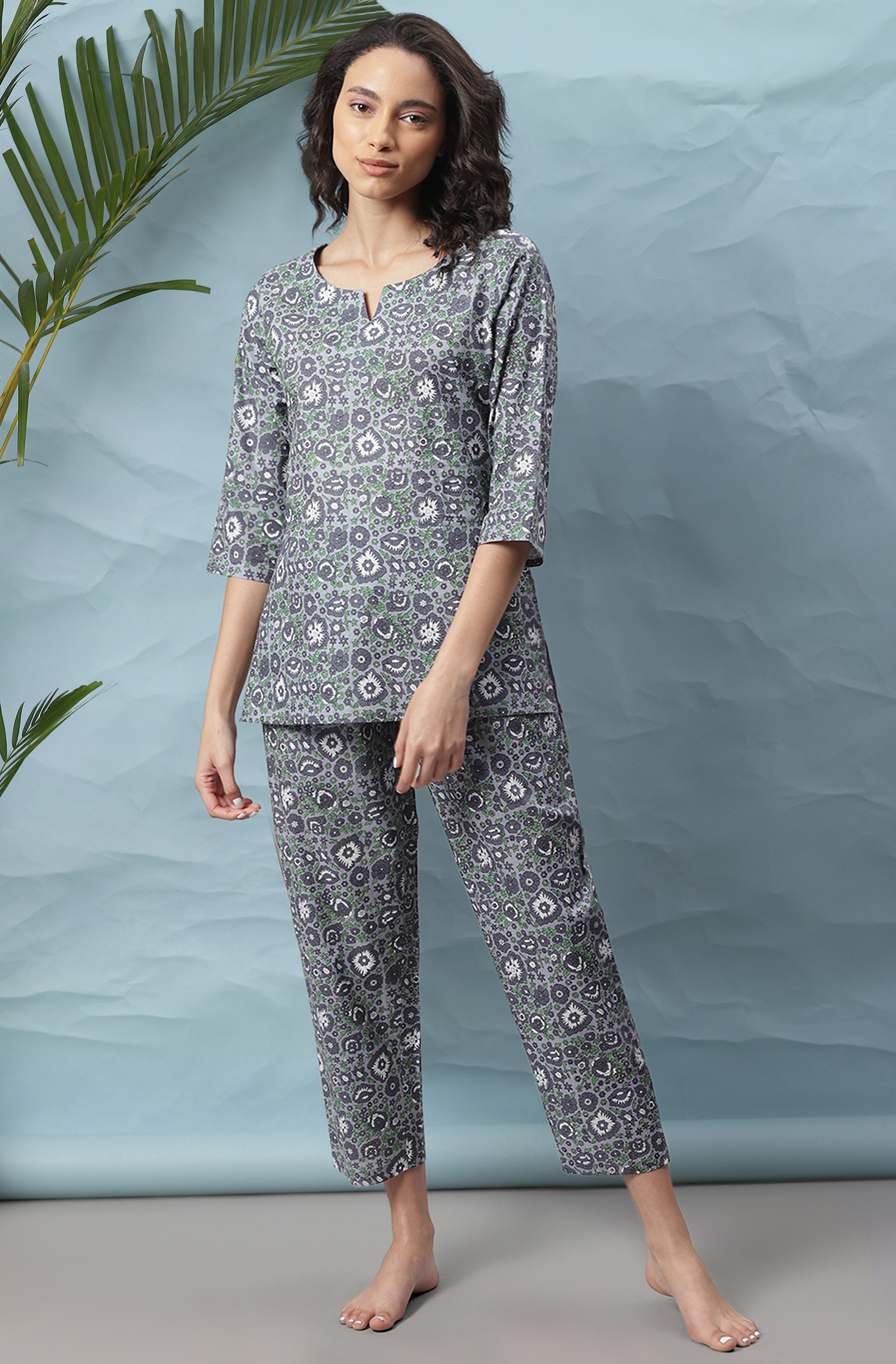 Janasya   Janasya Women's Grey Cotton Night Suit Set