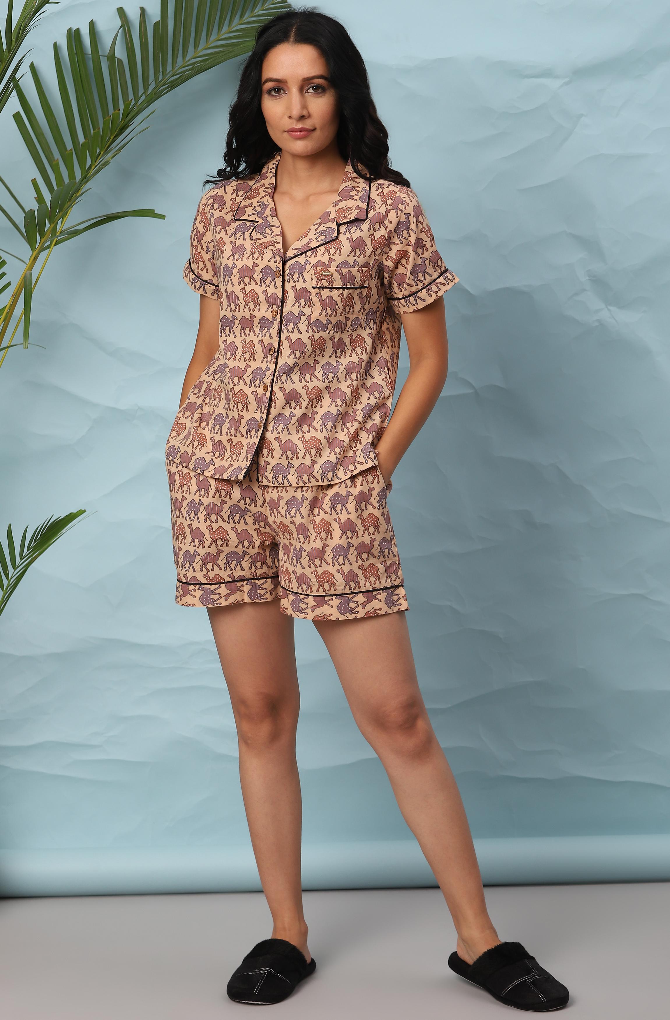 Janasya | Janasya Women's Peach Cotton Night Suit Set