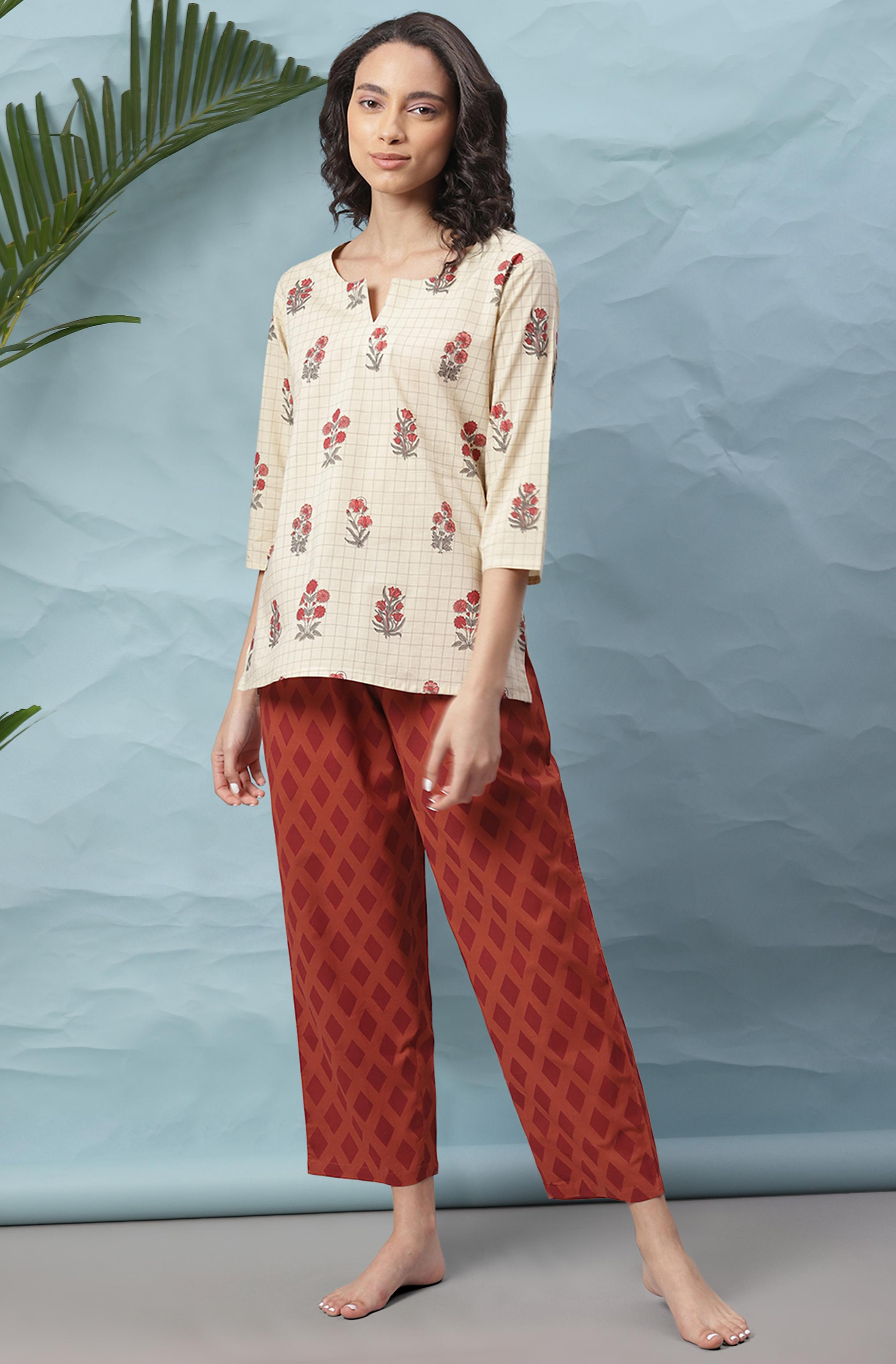 Janasya | Janasya Women's Cream Cotton Night Suit Set